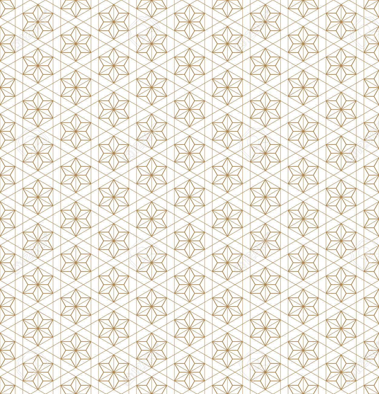Japanese seamless geometric pattern .Gold silhouette lines.For design template,textile,fabric,wrapping paper,laser cutting and engraving.Fine lines. - 143967714