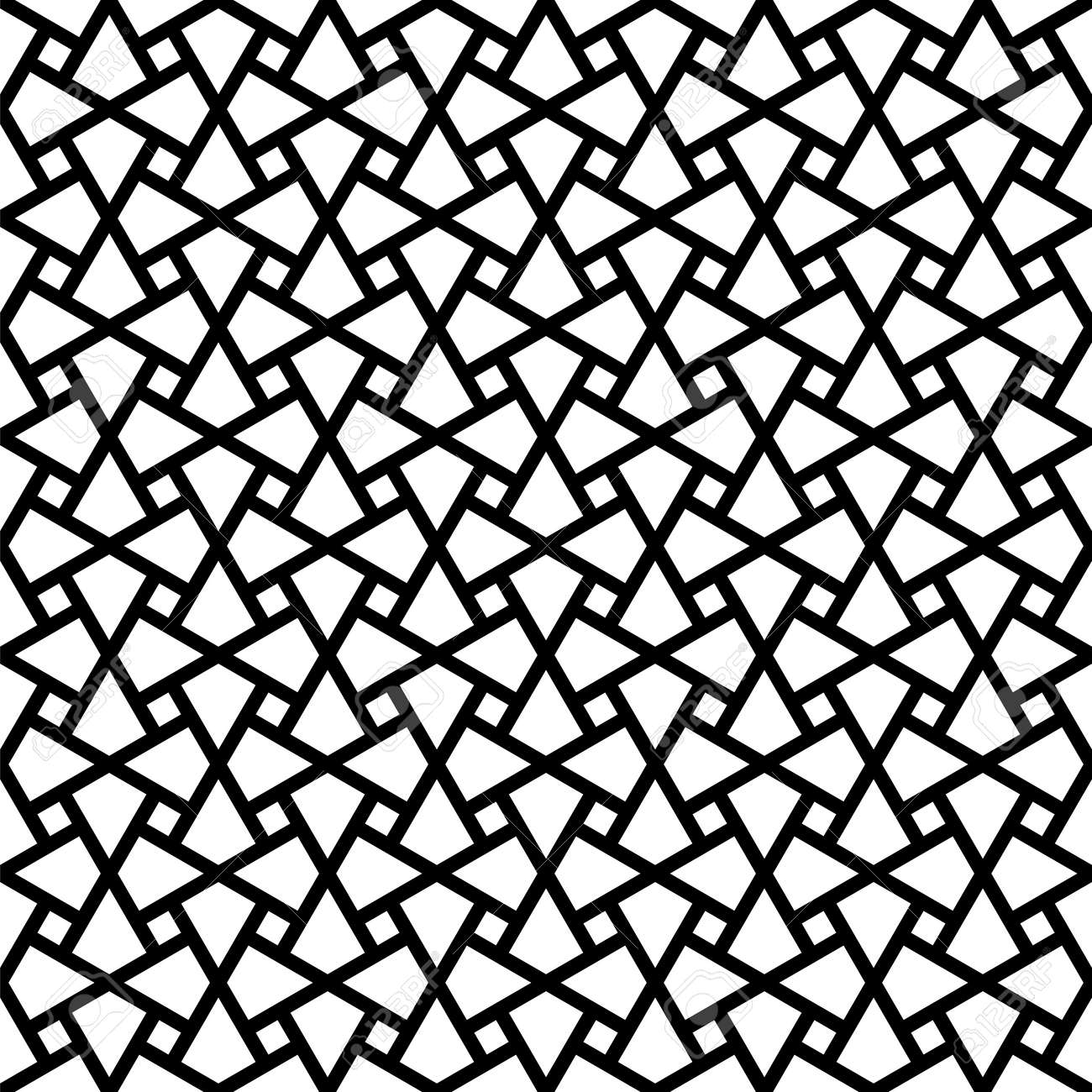 Seamless geometric ornament based on traditional arabic art. Muslim mosaic.Black and white lines.Great design for fabric, textile, cover, wrapping paper, background, laser cutting.Thick lines. - 156468598