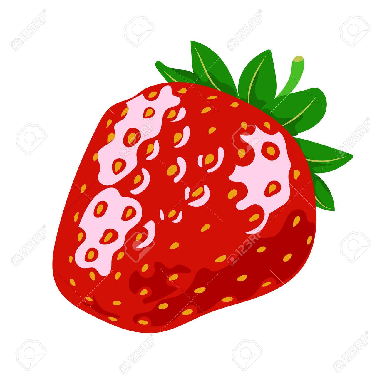 Red ripe strawberries, summer seasonal fruits, fruit print, juicy red strawberries, vector illustration in flat style - 168197654