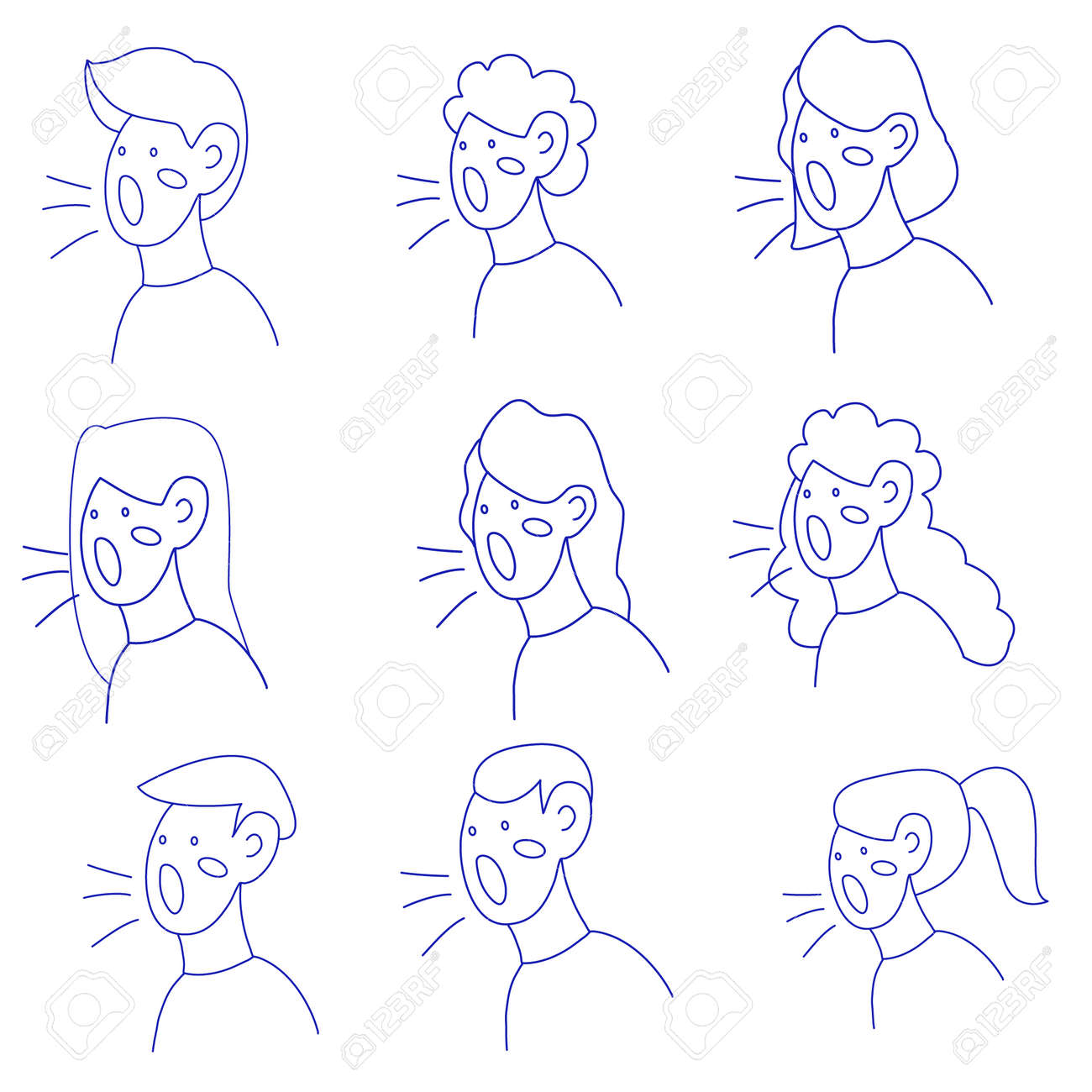 Vector linear illustration, silhouettes of people's heads expressing their opinions - 154757084