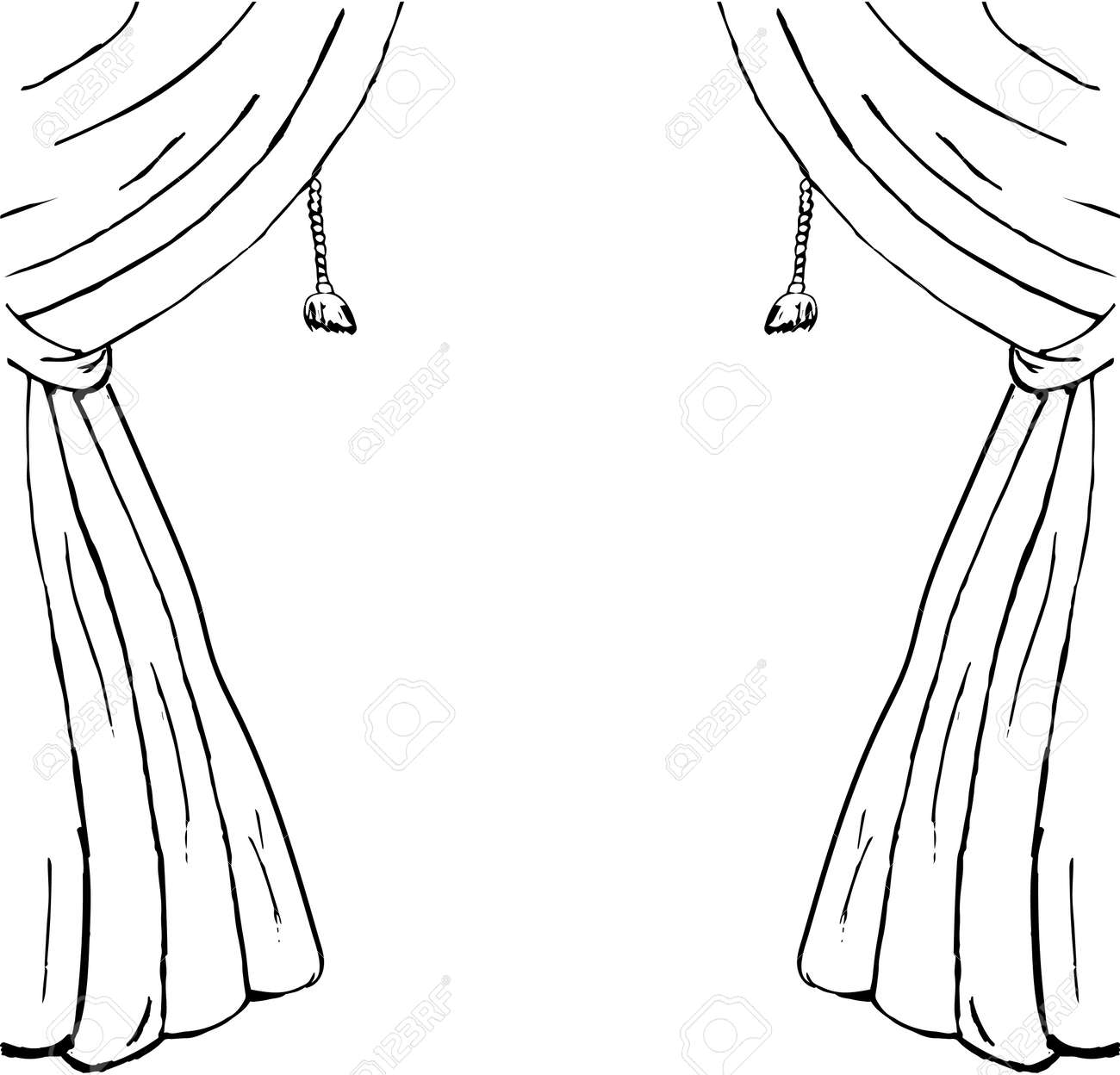 Drawn Sketch Of Curtains As A Design Element. Vector Stock Vector   47305499