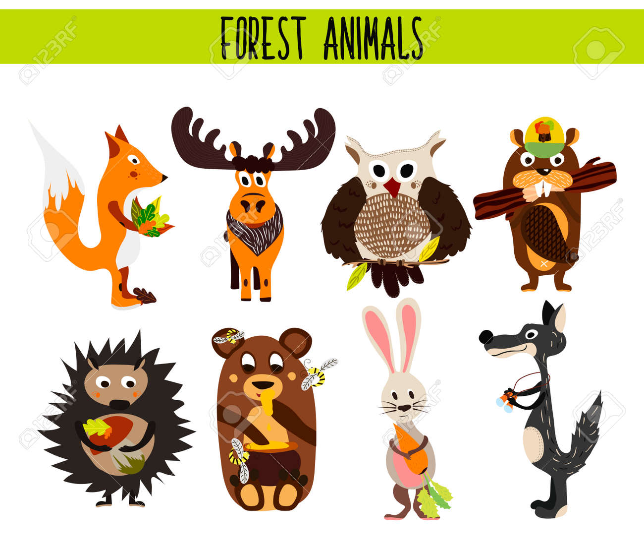 Cartoon Set Of Cute Woodland And Forest Animals Moose Owl Wolf Fox