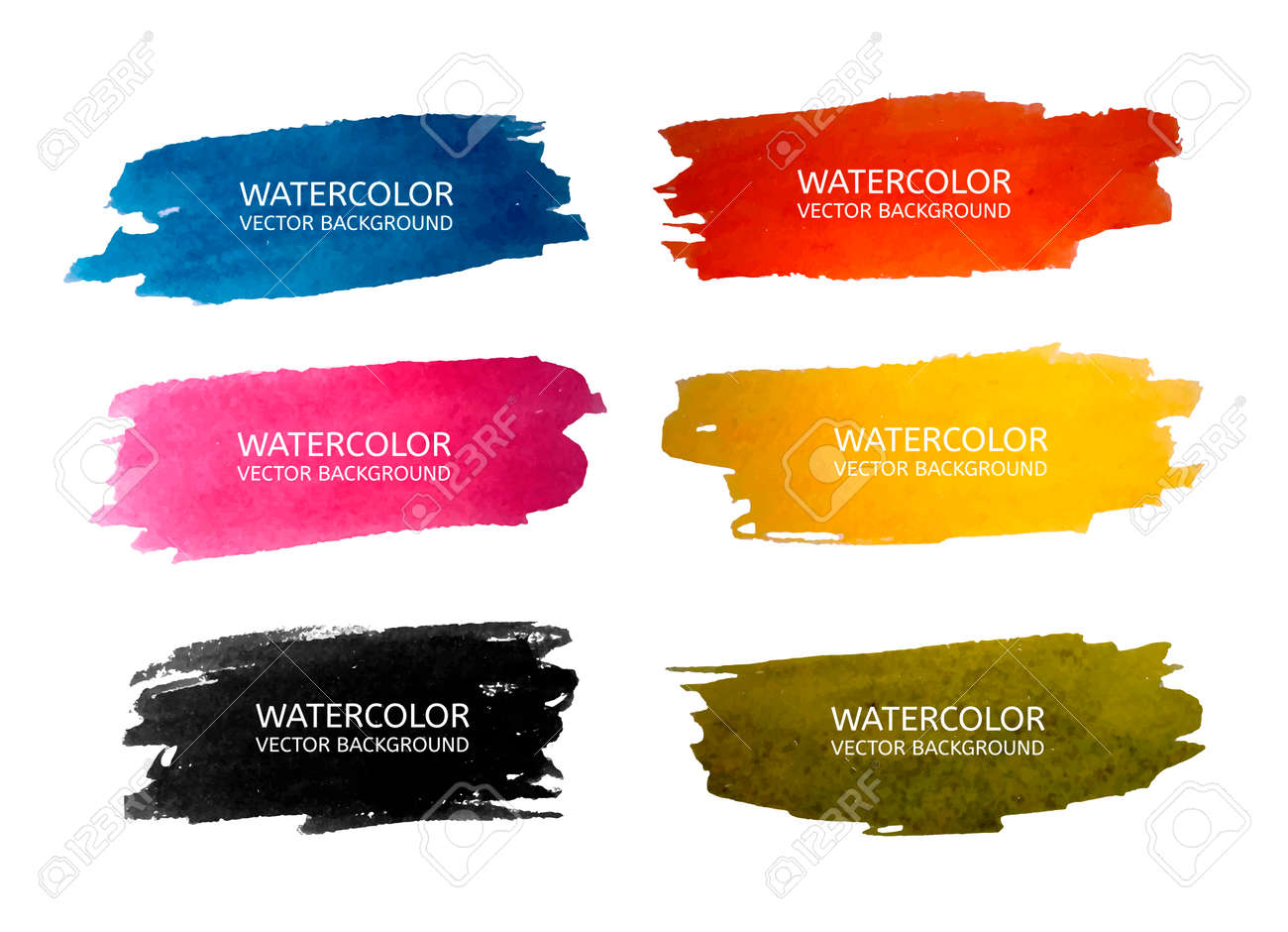 Vector beautiful watercolor backgrounds for your design in 6 colours. Vector illustration - 50560319