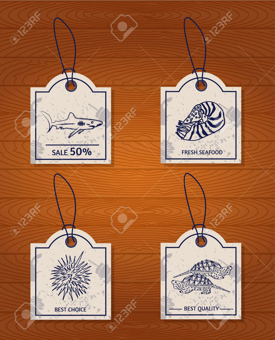 Et Of 4 Vintage Design Elements Seafood: Shark, Nautilus, Sea ...