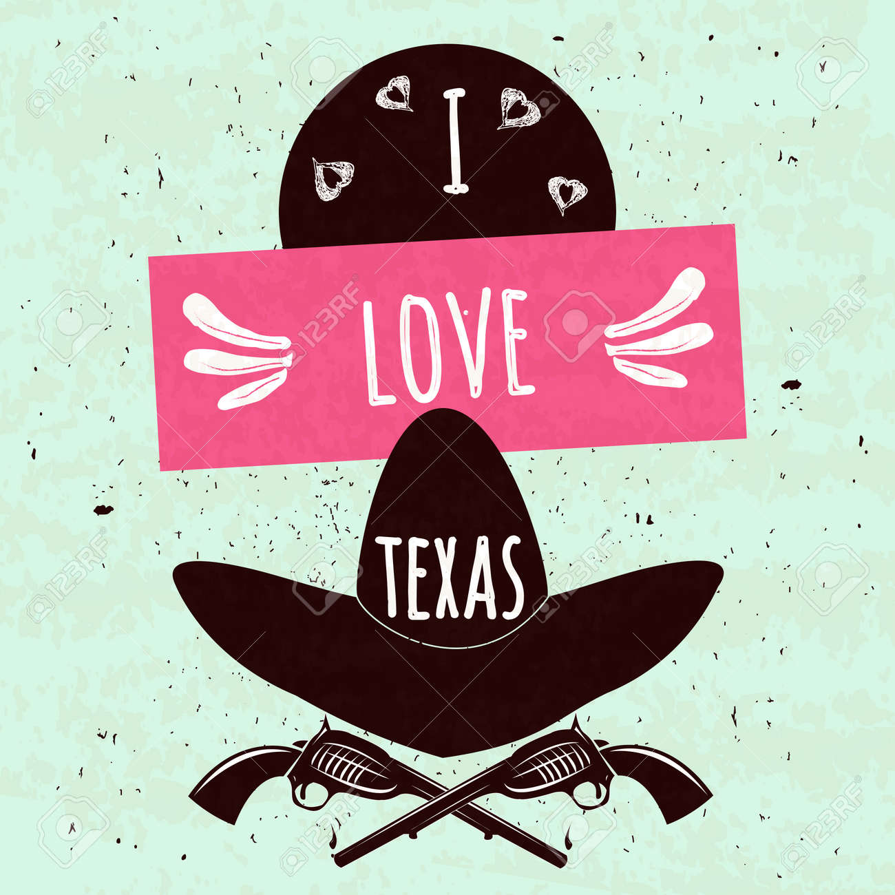 Juicy colorful typographic poster with the attributes of the state of Texas America\'s hat and arms on a light background with a texture. I love Texas. - 50592413