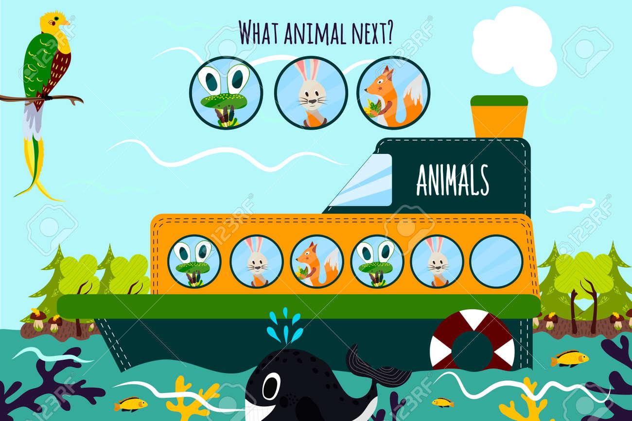 vector de dibujos animados de educacin continuar la serie lgica de animales de colores en un