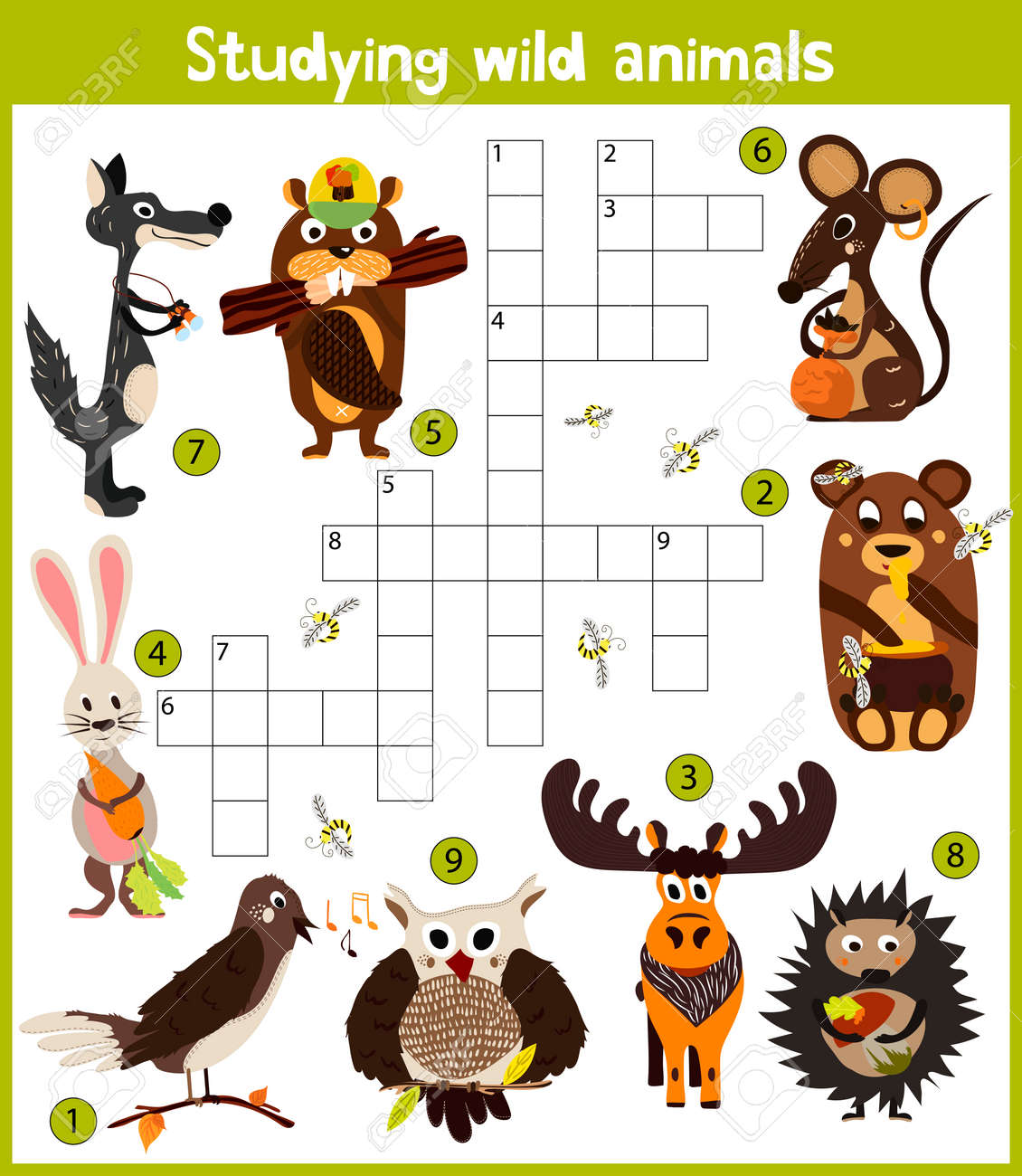 crucigrama de dibujos animados para nios de colores juego de la educacin para los nios