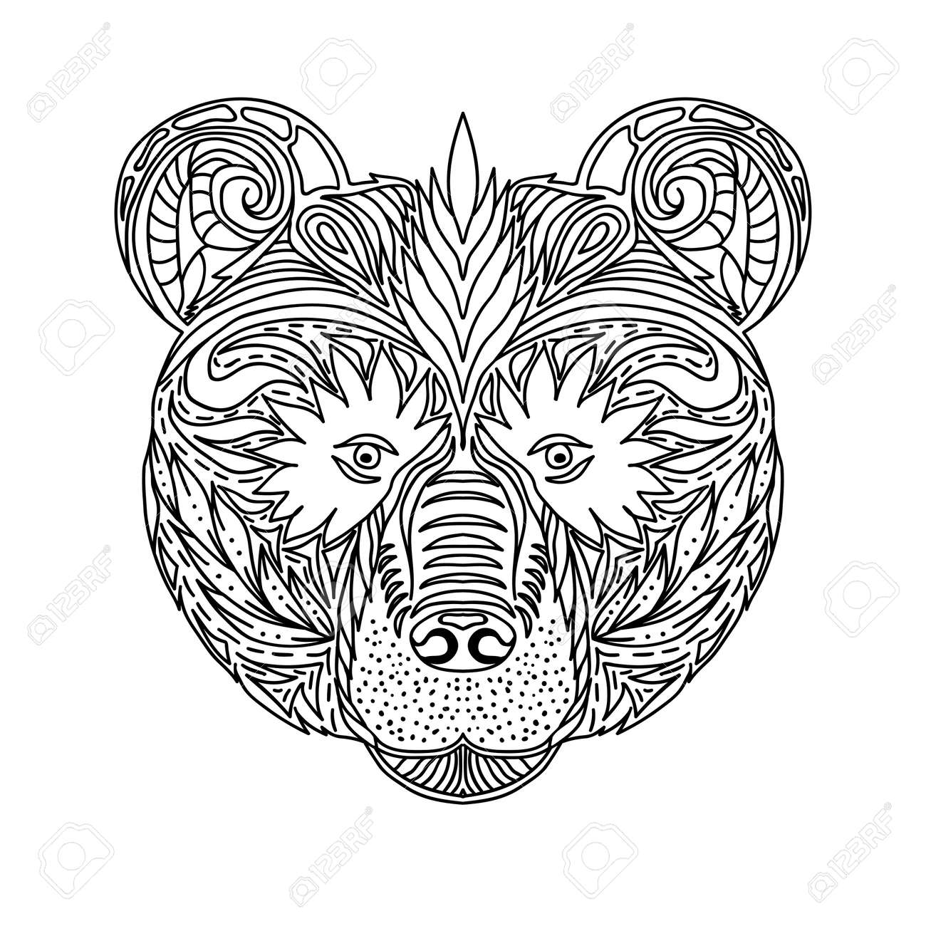 Black and white ornament faces wild beast of the forest bear, ornamental lace design. Page for adult coloring books. Hand drawn ink pattern. Vector illustration - 50677194