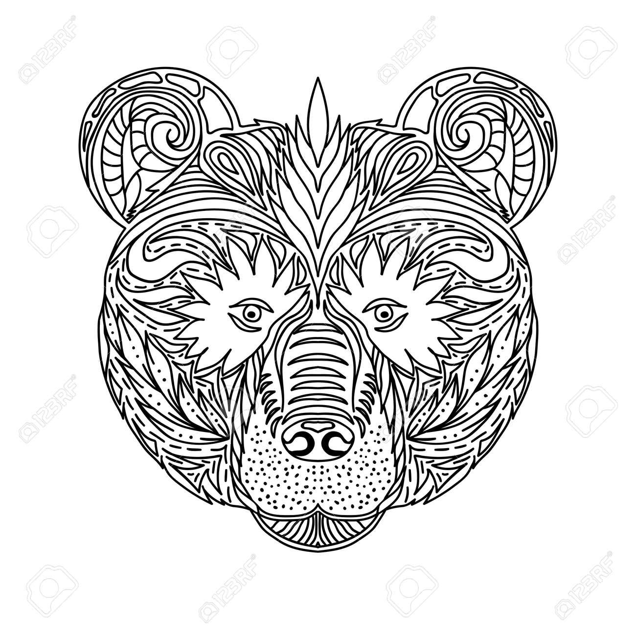 Ornamento Blanco Y Negro Se Enfrenta A La Bestia Salvaje Del Oso Bosque Diseño De Encaje Ornamental Página De Libros Para Colorear Para Adultos