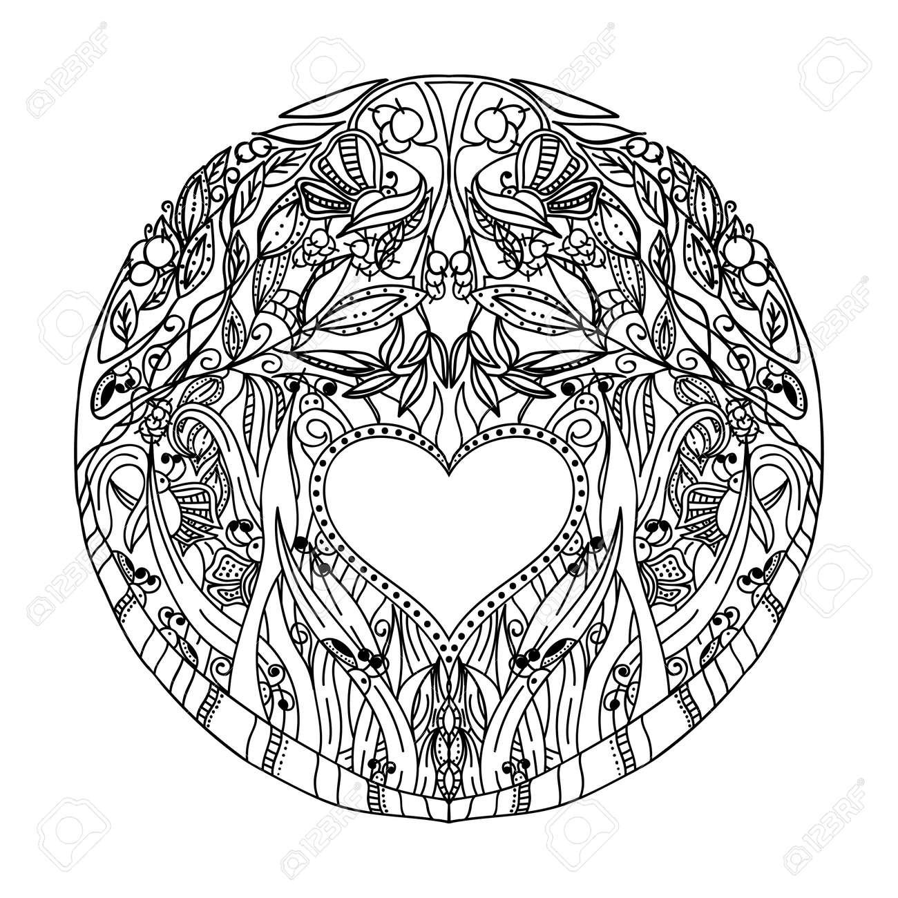 Dekorative Hand Muster Mit Dem Bild Des Waldnatur Für Buch ...