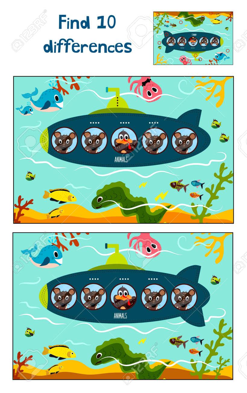 カラフルな子供向けイラスト海底で 10 の違いを見つけること教育の漫画