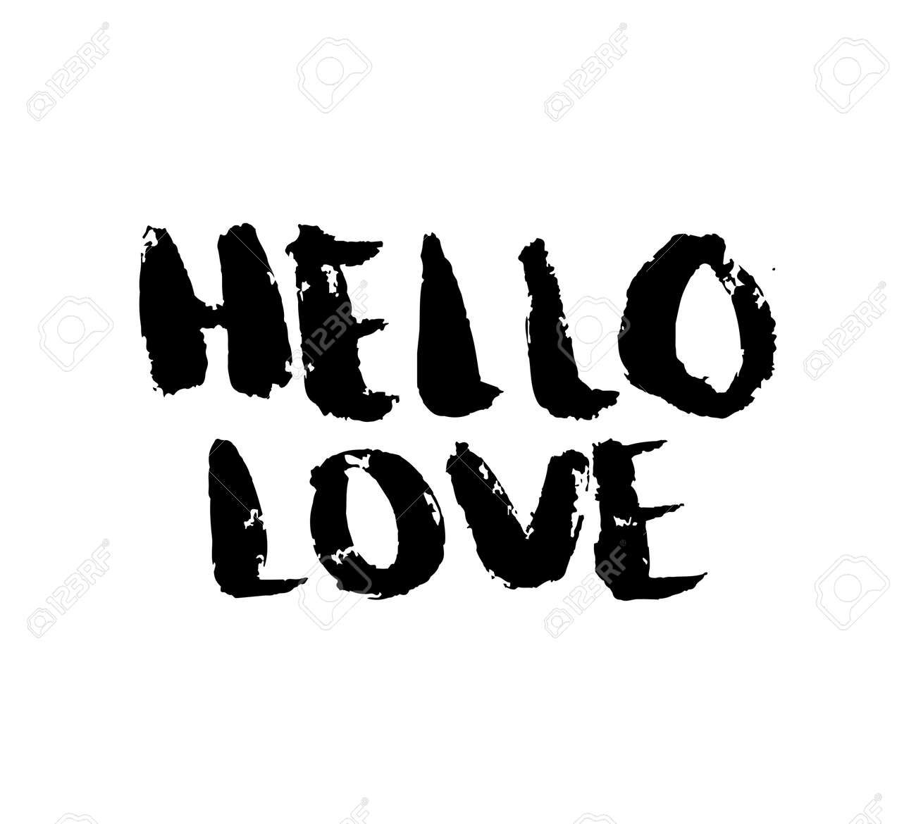 Beautiful Stencil Lettering Quotes Hello Love Isolated On A White Background. Vector  Illustration Stock Vector   Great Pictures