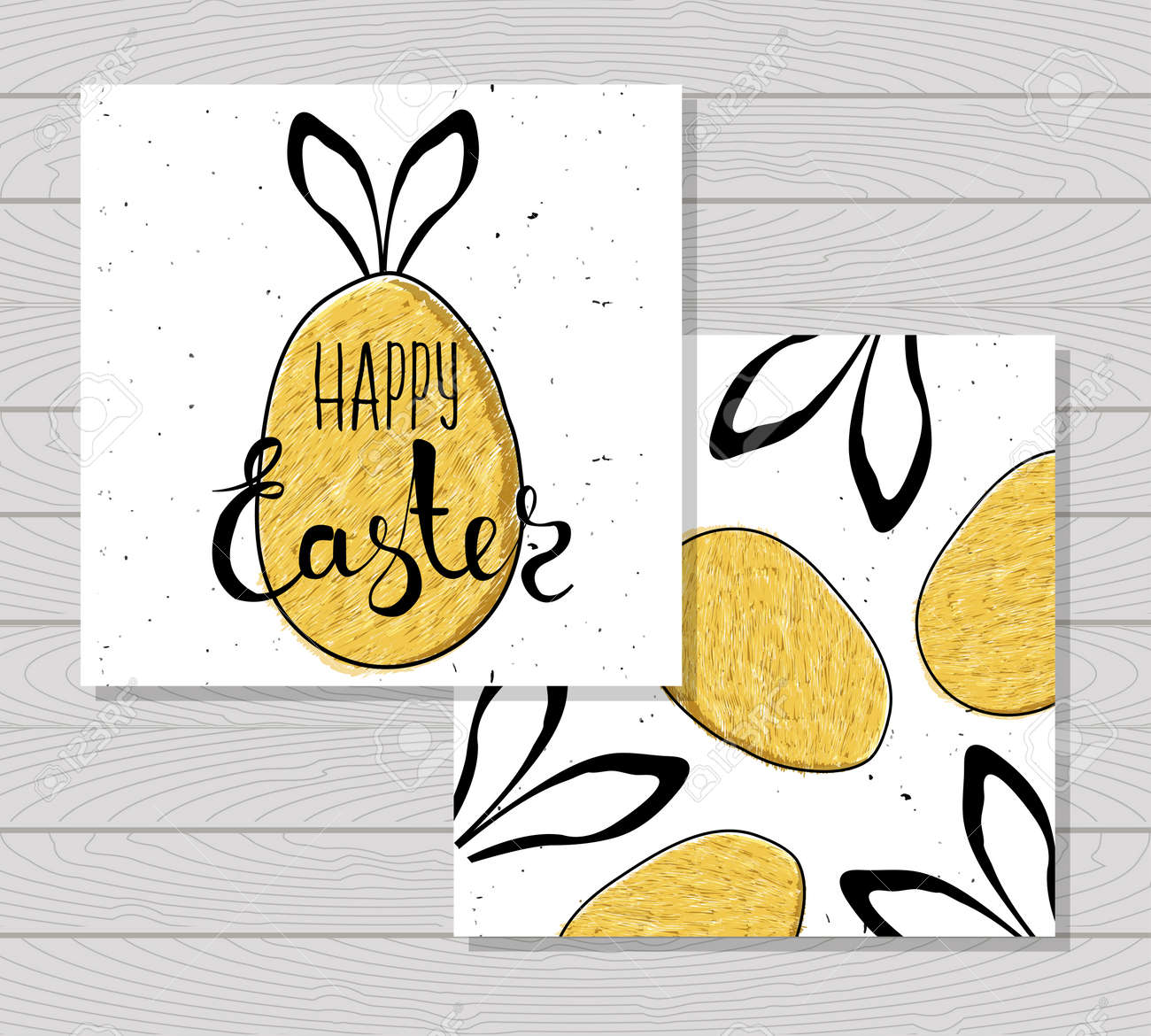 Colorful Printable Card For Easter With Eggs And Rabbit Ears On Wooden Background Vector