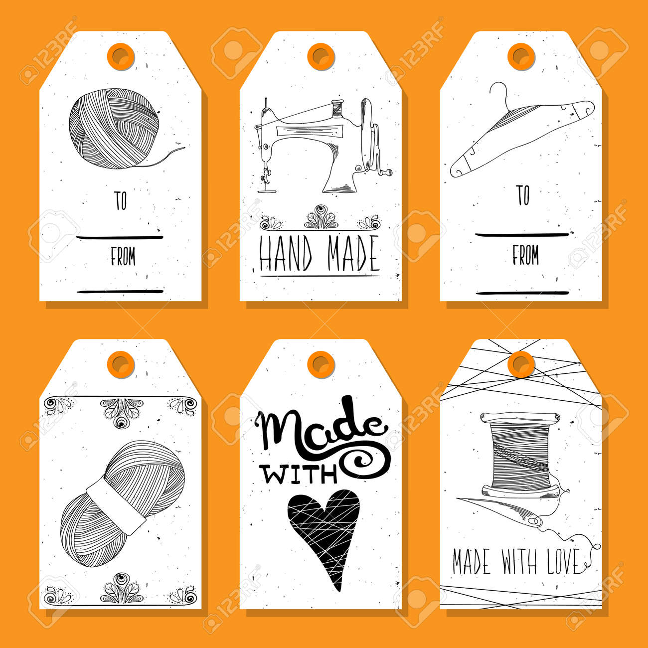 image regarding Printable Textiles named Printable tags within just a retro design Hand-drawn. Sewing techniques, techniques..