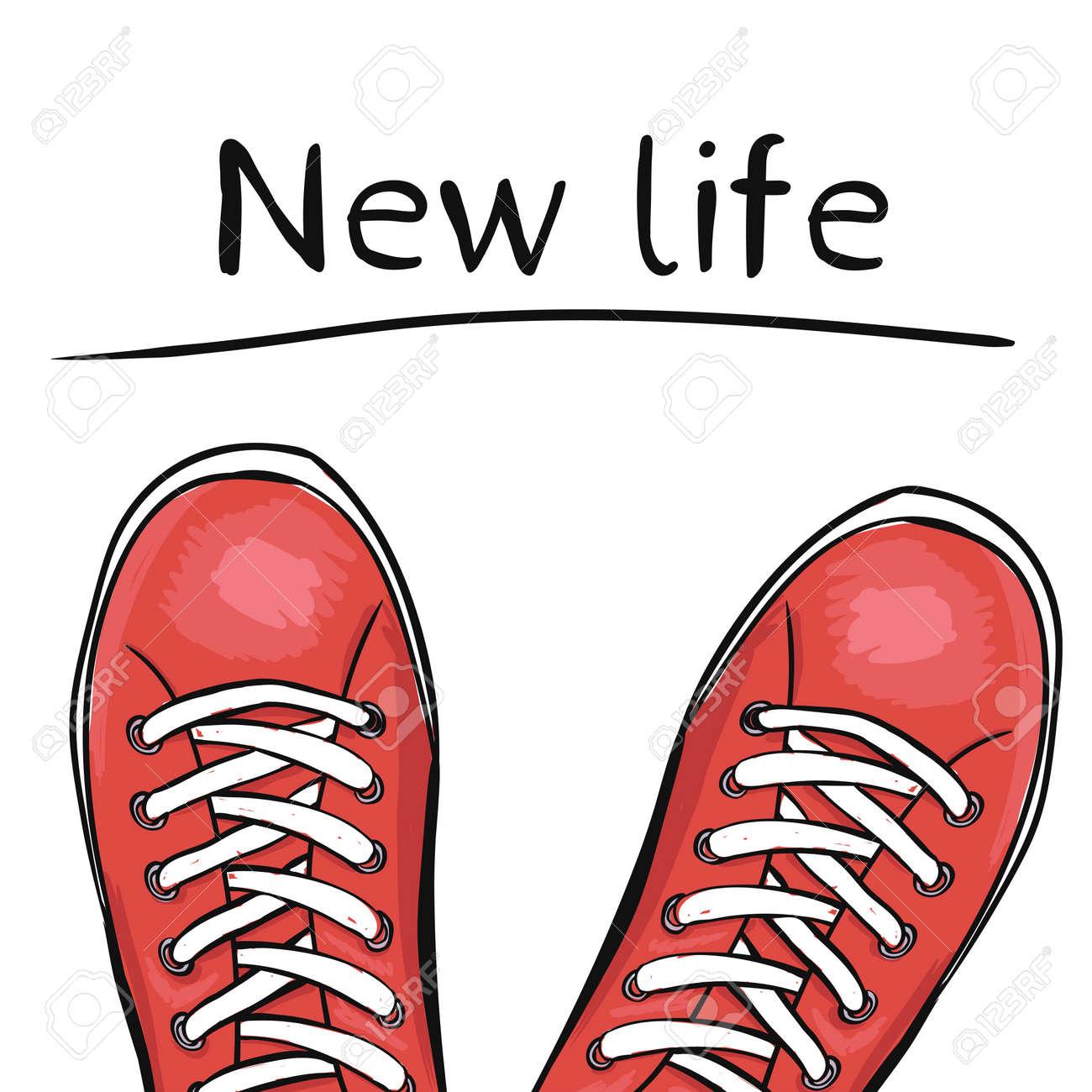 夏のトレンディなスポーツ シューズです。新しい生活を機能する前に、スポーツでの足靴スニーカーです。ベクトル図