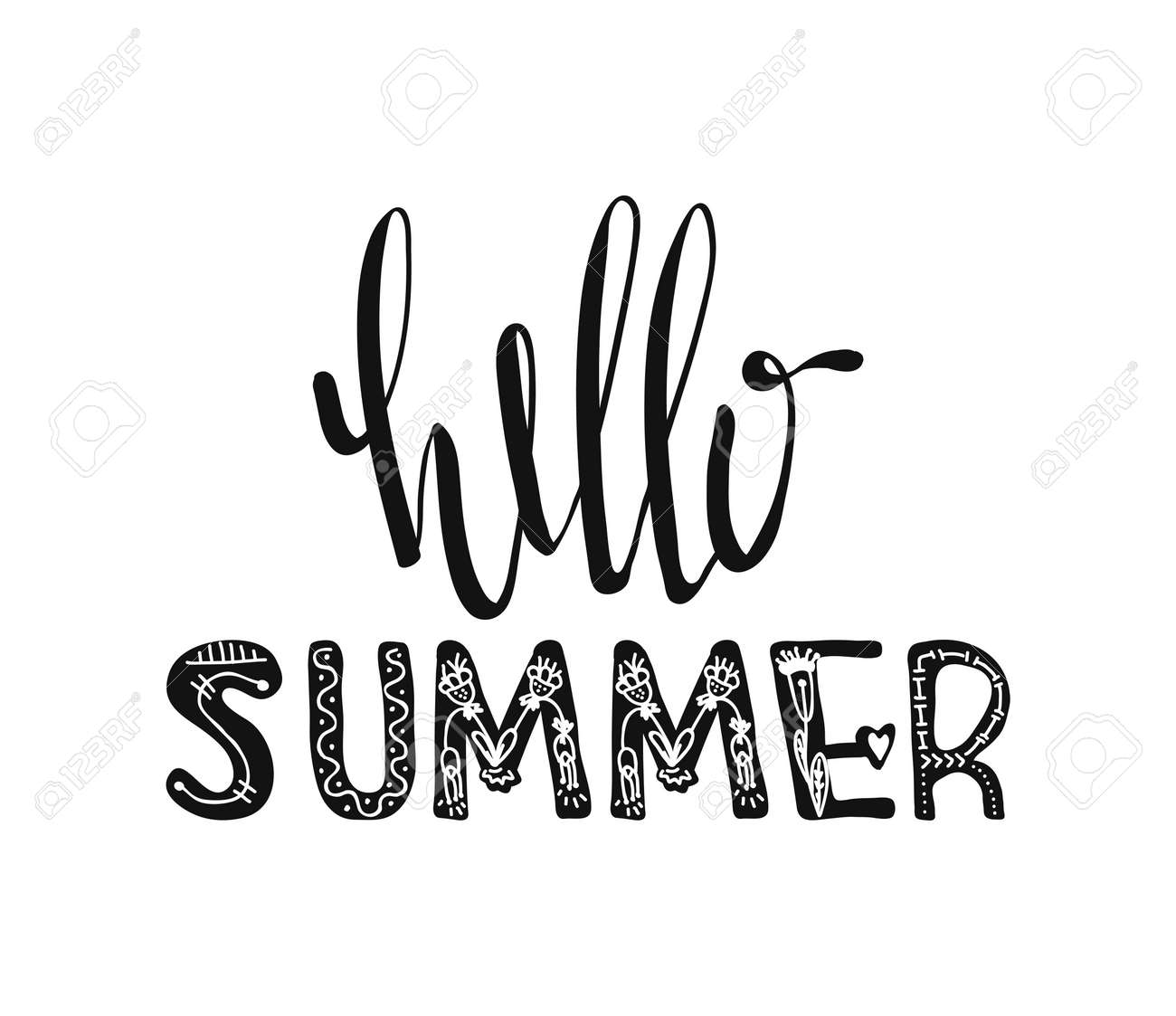 Hello Summer Hand Drawn Poster Typography Inspirational Quotes