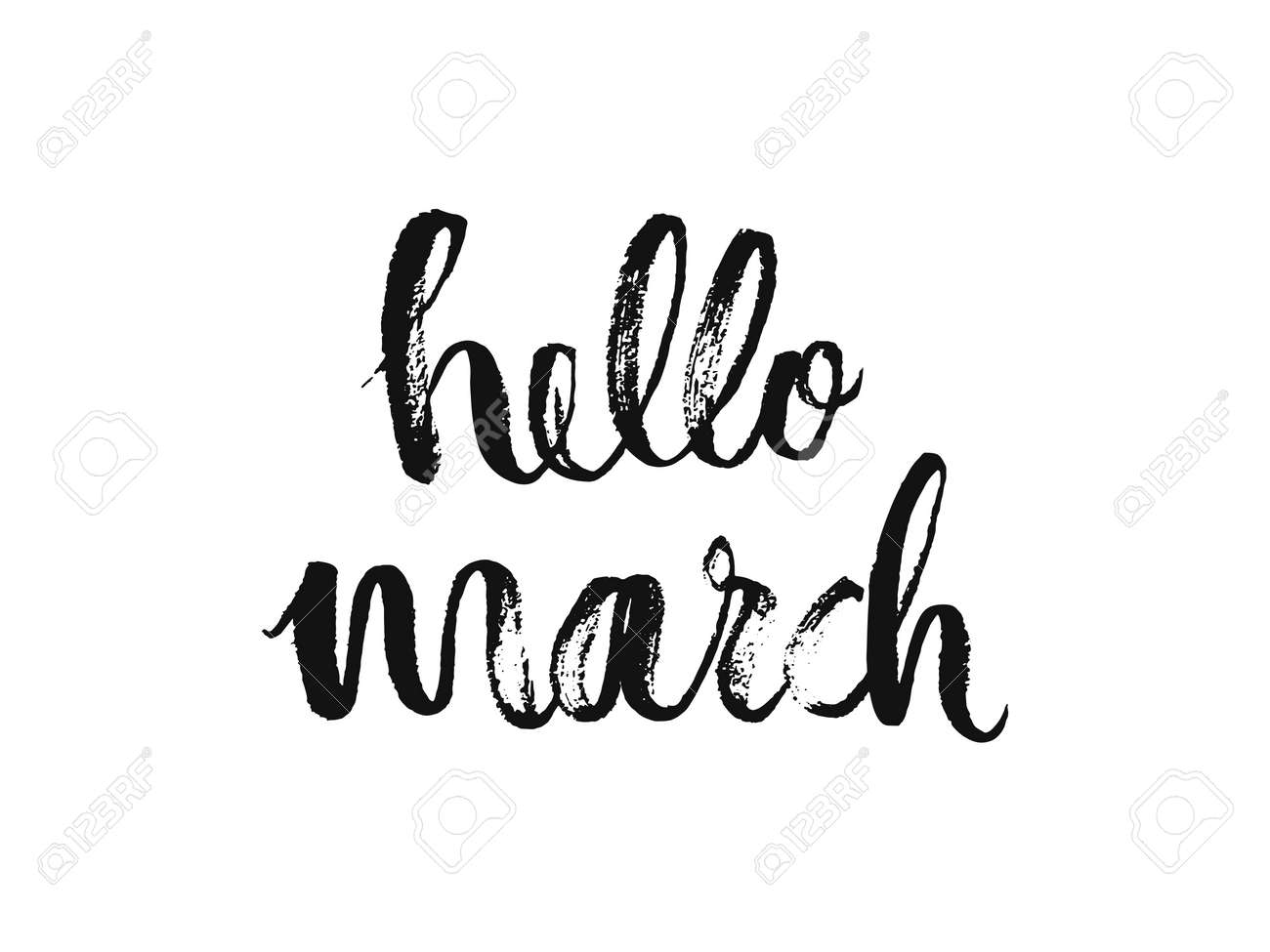 Hello march. handwritten lettering. modern calligraphy. vector