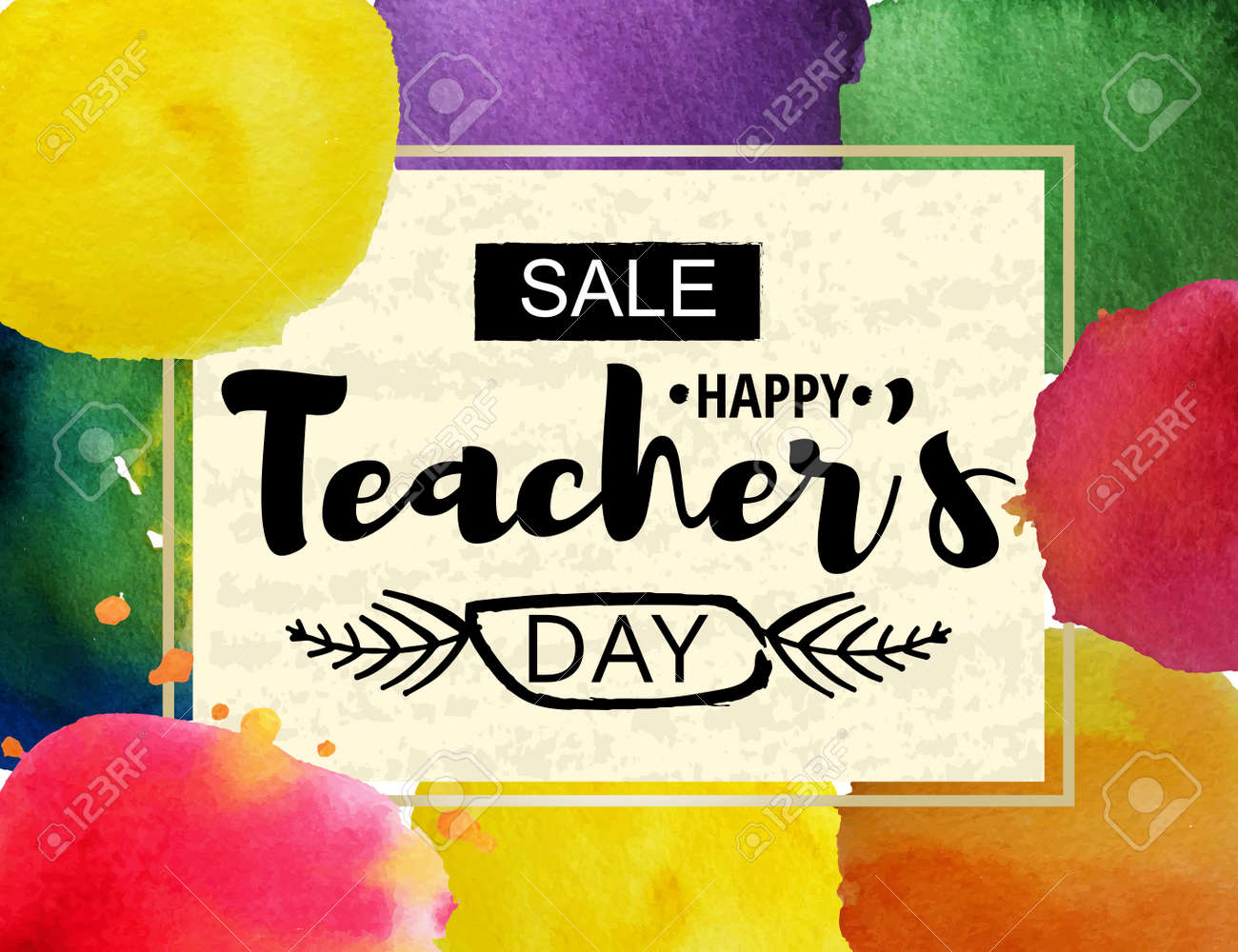 Happy teachers day greeting card frame with the announcement happy teachers day greeting card frame with the announcement of discounts for the day of m4hsunfo