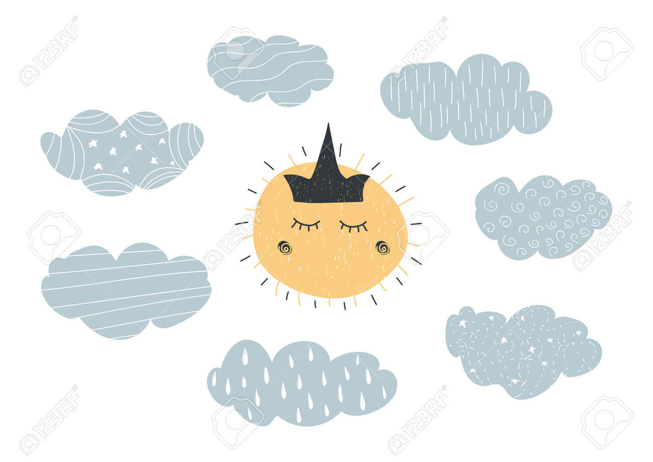 Hand drawn grunge vector illustration in scandinavian style with ornamental clouds and sun with crown - 93961019