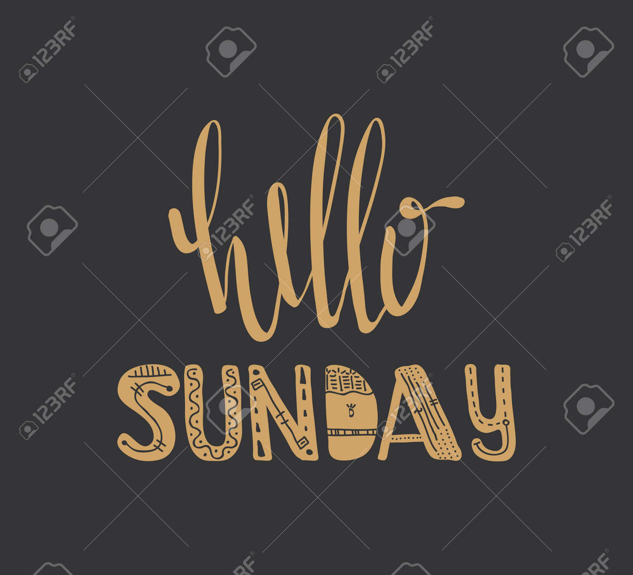 Hello Sunday Quote Hand Drawn Poster Typographic Inspirational