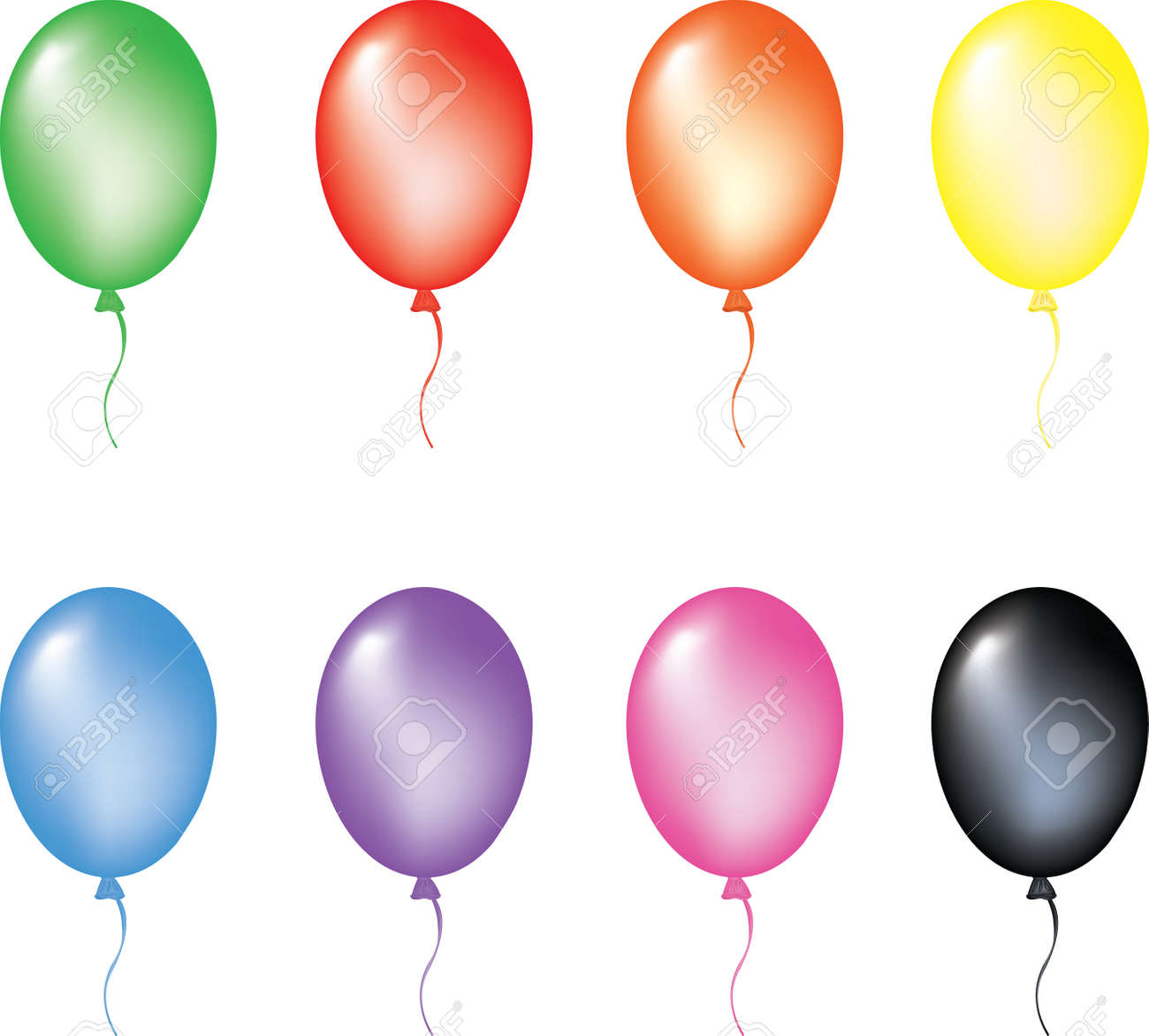 Multi color balloons. Vector illustration. isolated on white background, EPS8, all parts closed, possibility to edit. Stock Vector - 3335924