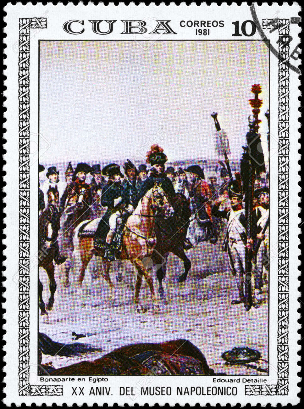 CUBA - CIRCA 1981: A Stamp printed in CUBA shows the Bonaparte in Egypt, by Edouard Detaille, from the series Paintings in the Napoleon Museum, circa 1981 Stock Photo - 10216007