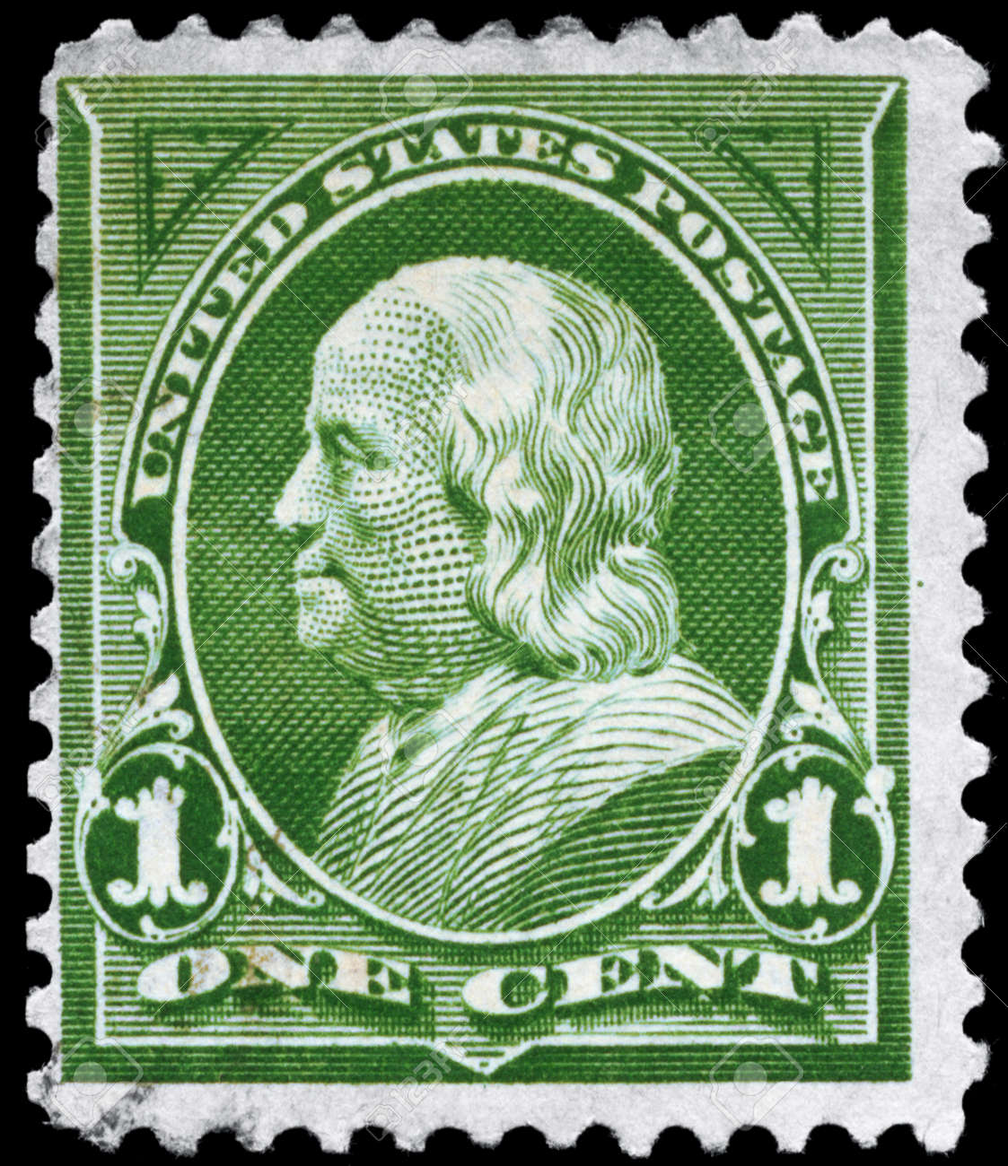 USA - CIRCA 1898: A Stamp printed in USA shows the portrait of a Benjamin Franklin (1706-1790), series, circa 1898 Stock Photo - 11967499