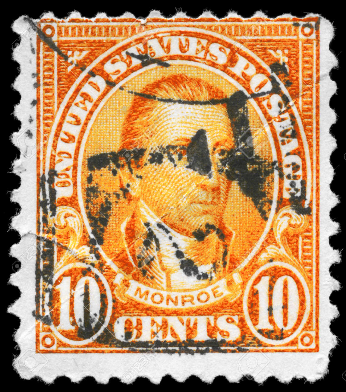 USA - CIRCA 1923: A Stamp printed in USA shows the portrait of a James Monroe (1758-1831), series, circa 1923 Stock Photo - 11967495