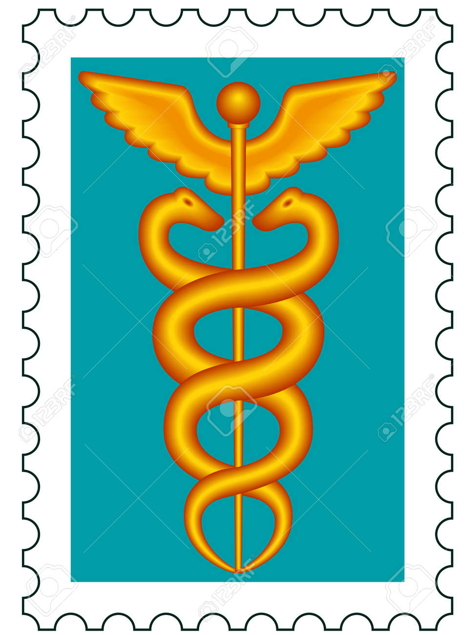 Medical symbol caduceus on postage stamp Stock Vector - 12659118