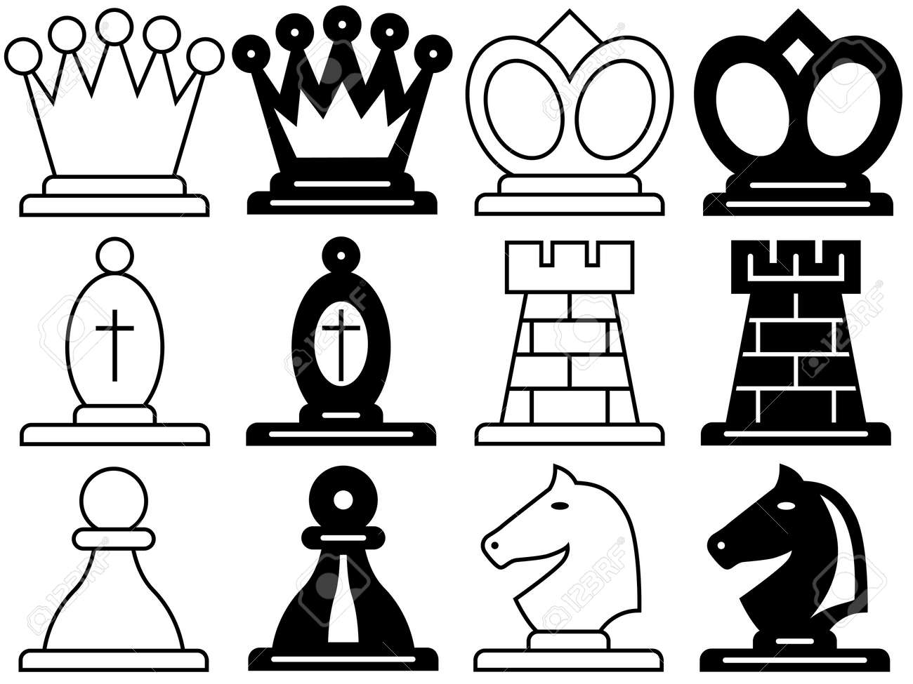 The Set Of A Chess Symbols Royalty Free Cliparts Vectors And Stock