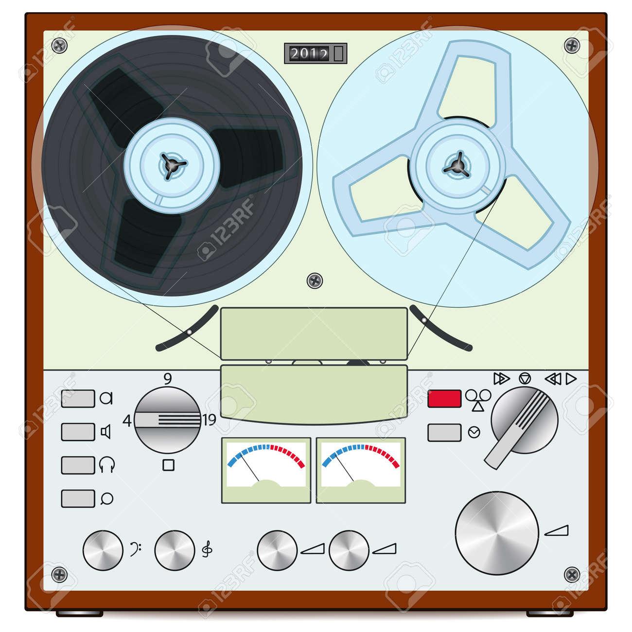 The retro audio tape recorder Stock Vector - 12770571