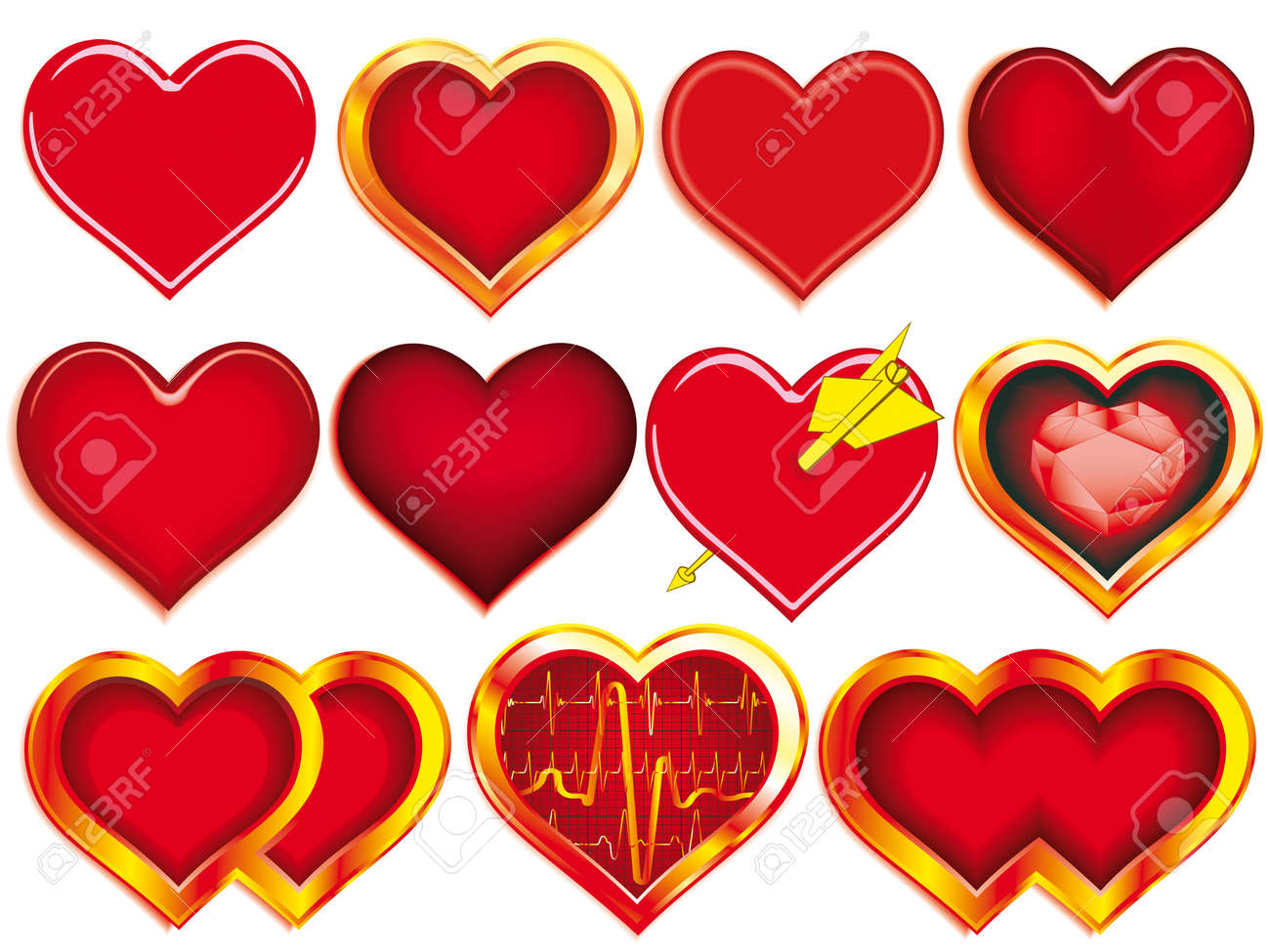 Collection of Hearts for various designs Stock Vector - 12940034