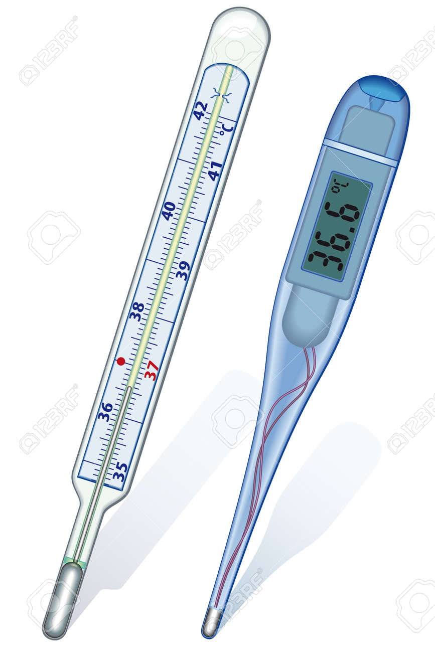 Classic and digital thermometers on white background - blend only Stock Vector - 12940073