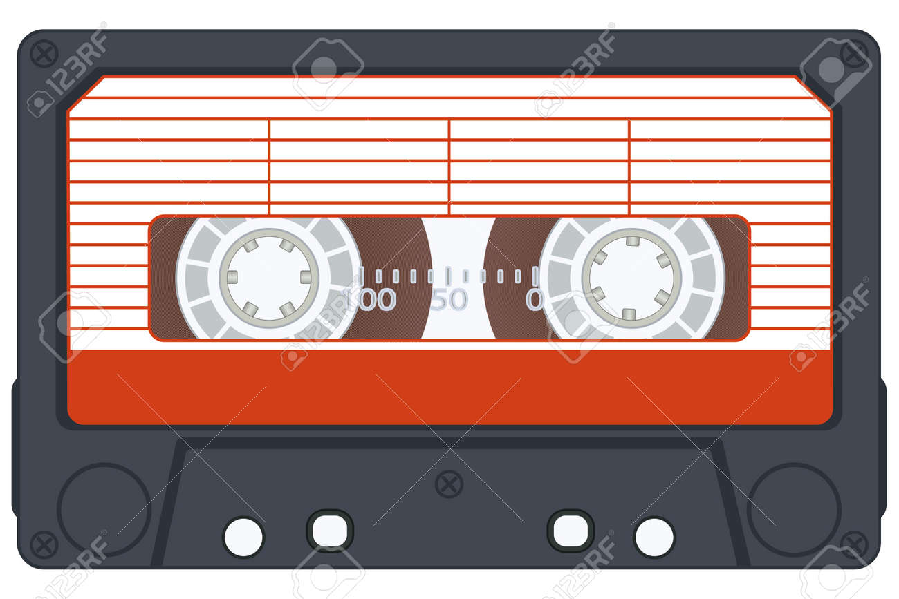 Audio cassette on white background. Vector without gradients Stock Vector - 13107792