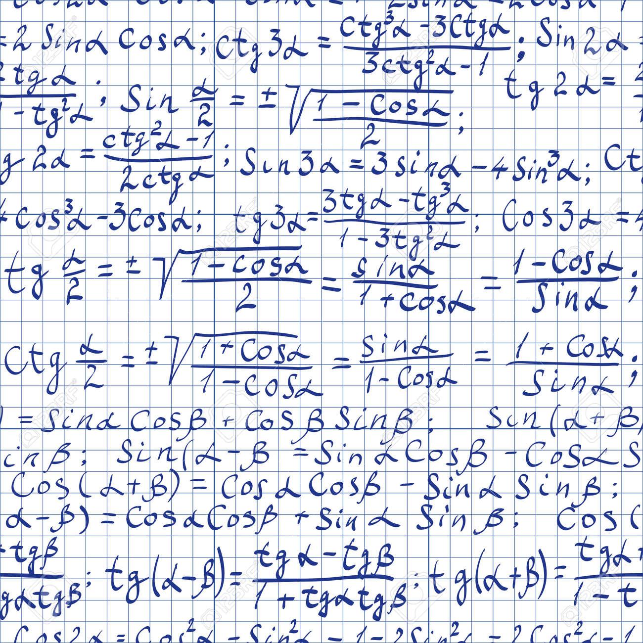Seamless pattern of trigonometrical formulas Stock Vector - 13160546