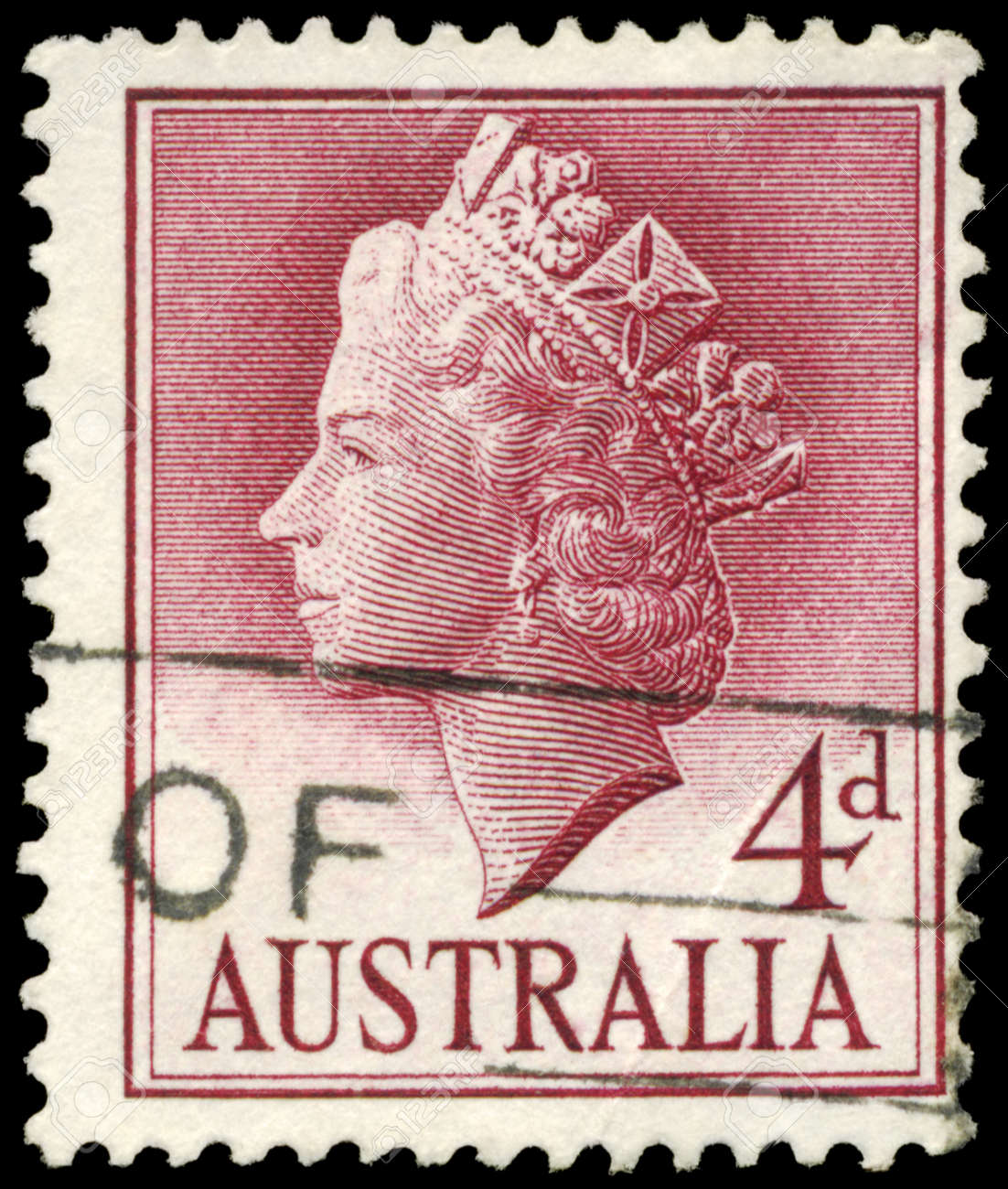 AUSTRALIA - CIRCA 1957: A Stamp printed in AUSTRALIA shows the portrait of a Queen Elizabeth II, series, circa 1957 Stock Photo - 16375793