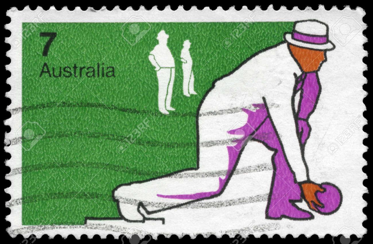 AUSTRALIA - CIRCA 1974: A Stamp printed in AUSTRALIA shows the Bowls, Sport series, circa 1974 Stock Photo - 16375834