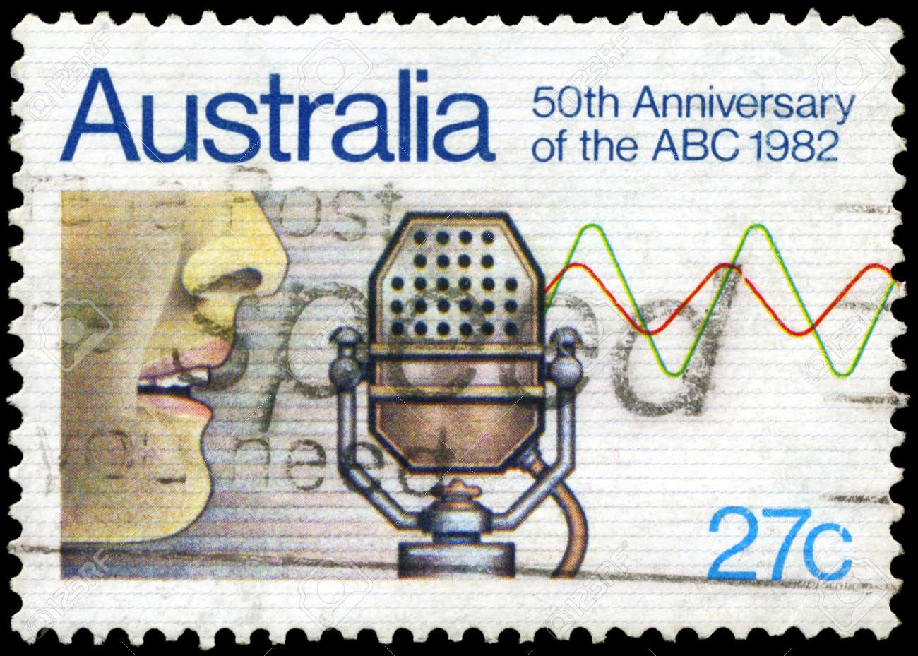 AUSTRALIA - CIRCA 1982: A Stamp printed in AUSTRALIA shows the Microphone, 50th annivesary of Australian Broadcasting Commission, circa 1982 Stock Photo - 17422779