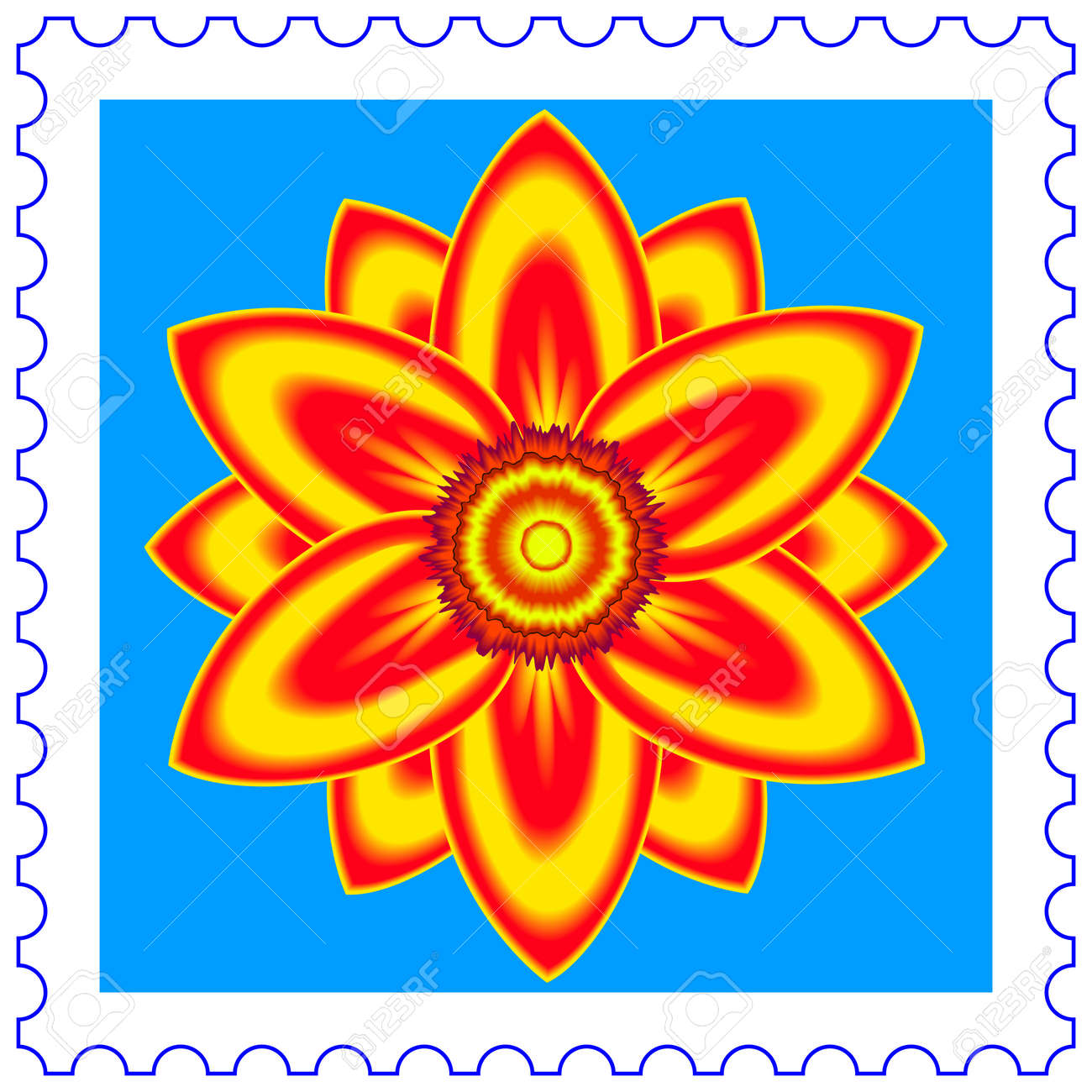 Abstract flower on a postage stamp Stock Vector - 19615300