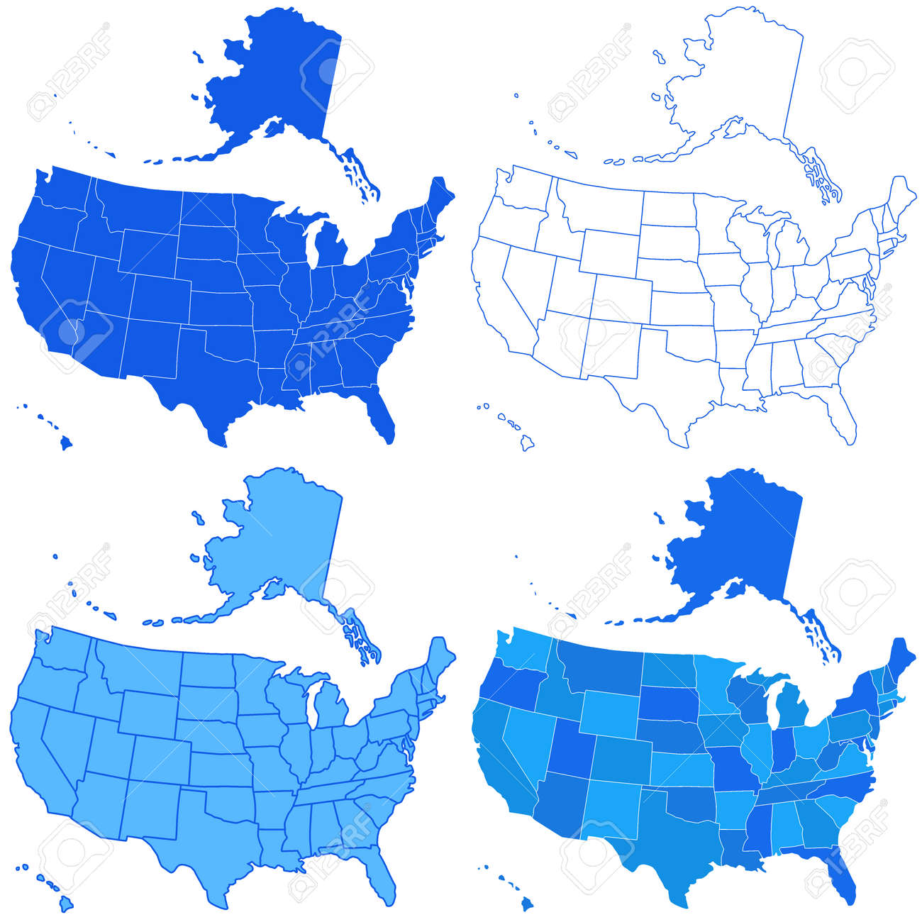 Set Of The USA Maps All Objects Are Independent And Fully - Usa maos