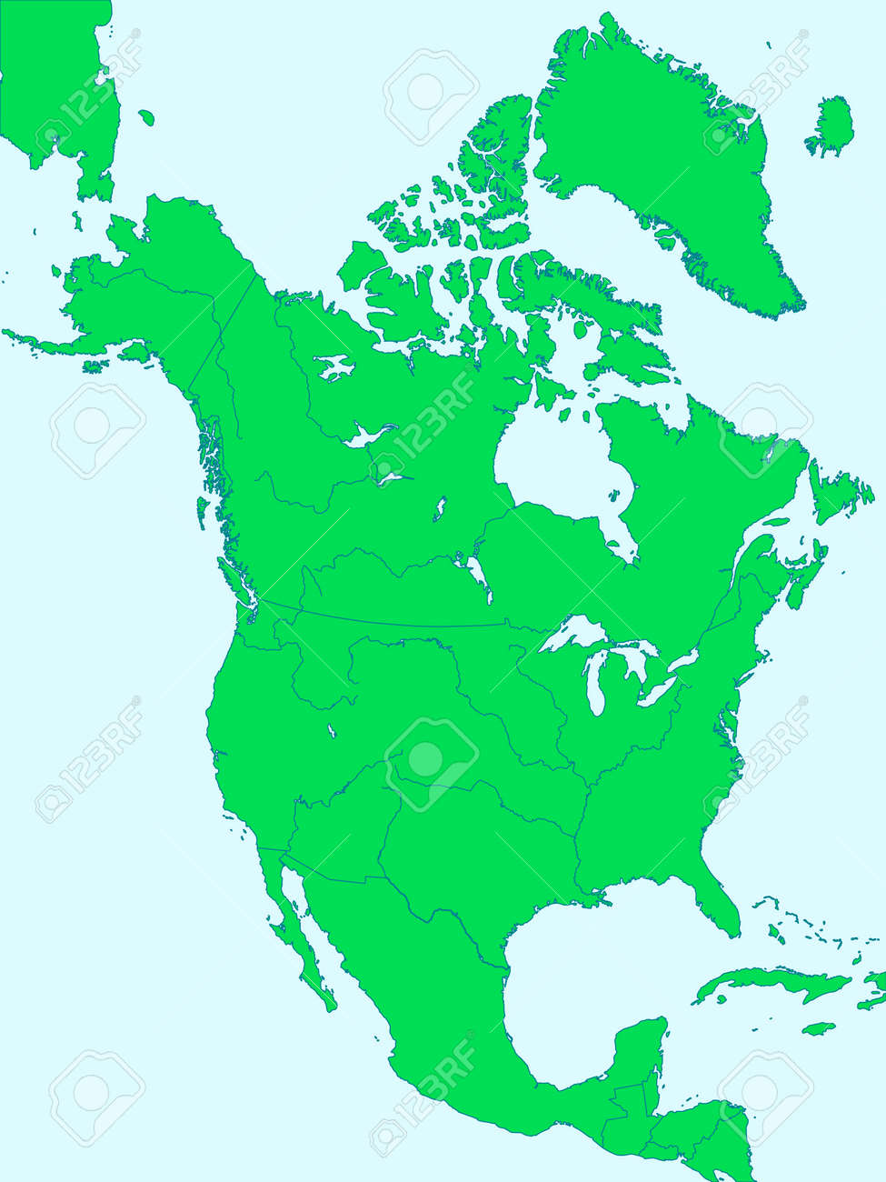 Silhouette Map Of The North America With Major Rivers And Lakes - America map with rivers