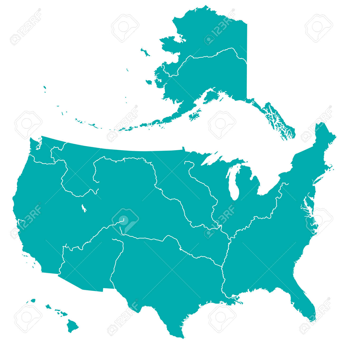 terrestrial silhouette map of the united states with major rivers and lakes all objects are