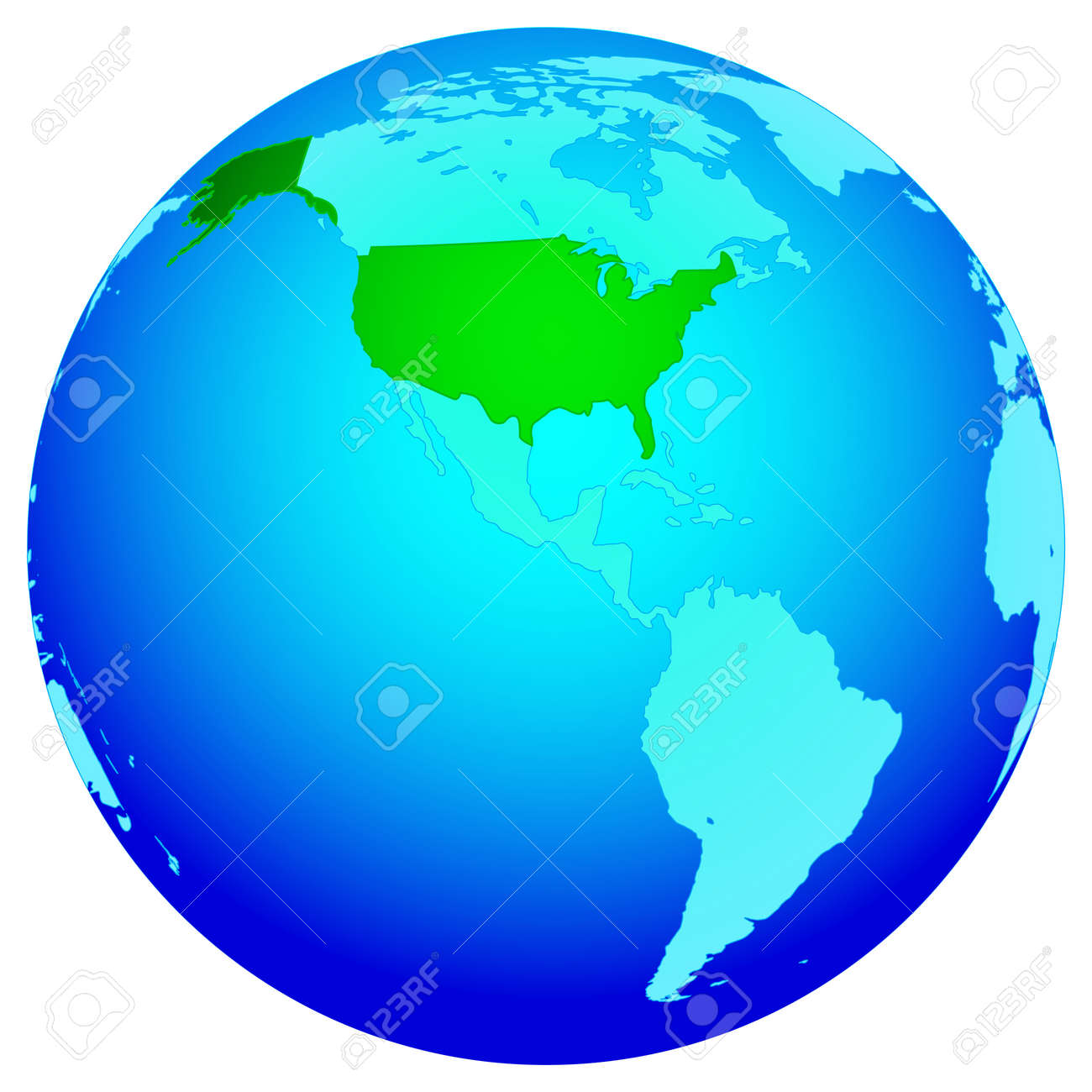 Silhouette Map Of The USA On The Globe All Objects Are - Globe of usa