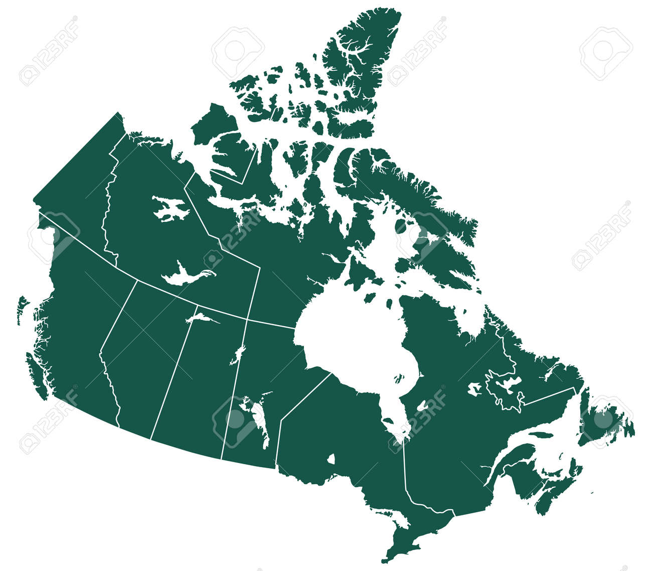 Map Of Canada Silhouette.Silhouette Provinces Map Of The Canada All Objects Are Independent