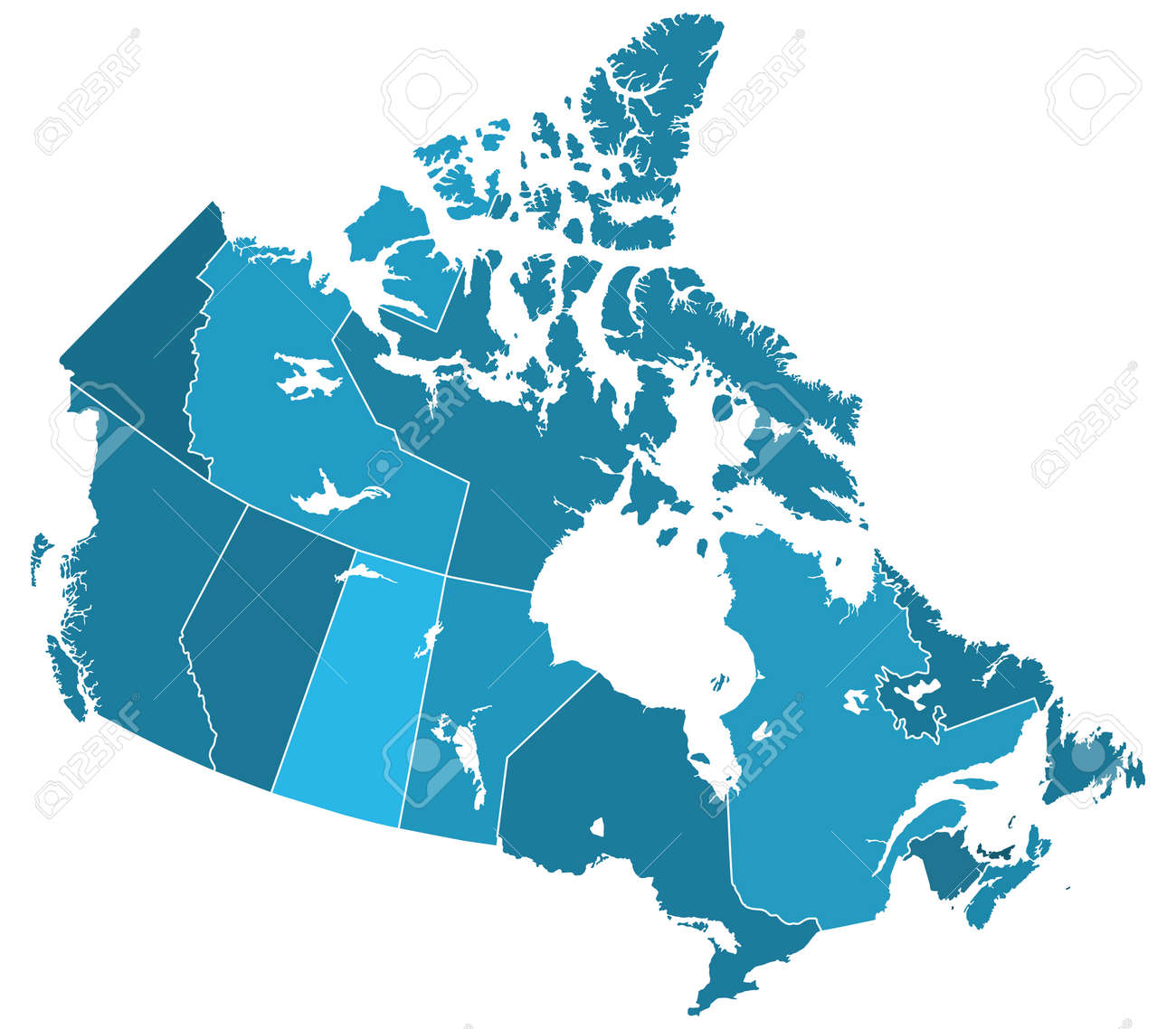 Map Of Canada Silhouette.Silhouette Regions Map Of The Canada All Objects Are Independent