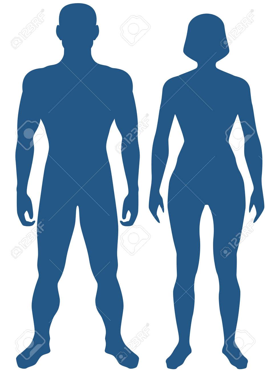 人体のシルエットのイラストです。男と女 ロイヤリティフリークリップ