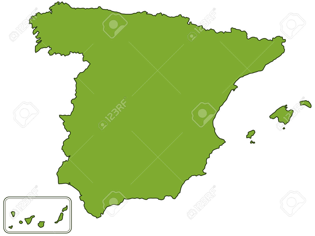 Elevation Map Of Spain.Silhouette Contour Map Of The Spain All Objects Are Independent