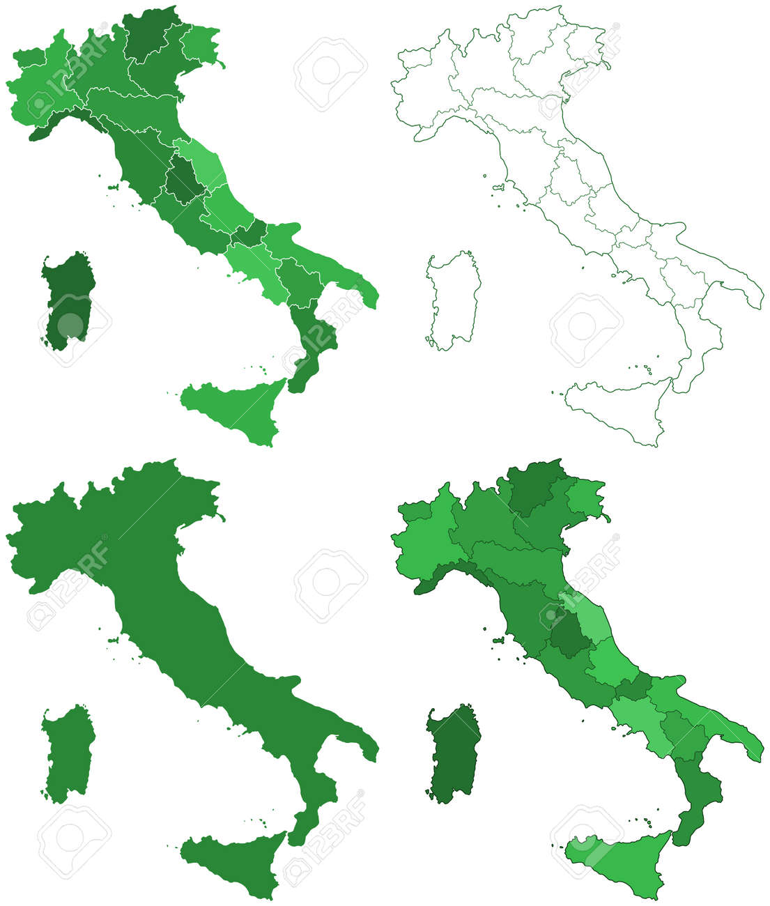 Pdf Map Of Italy.Silhouette Contour Border Map Set Of The Italy With Islands