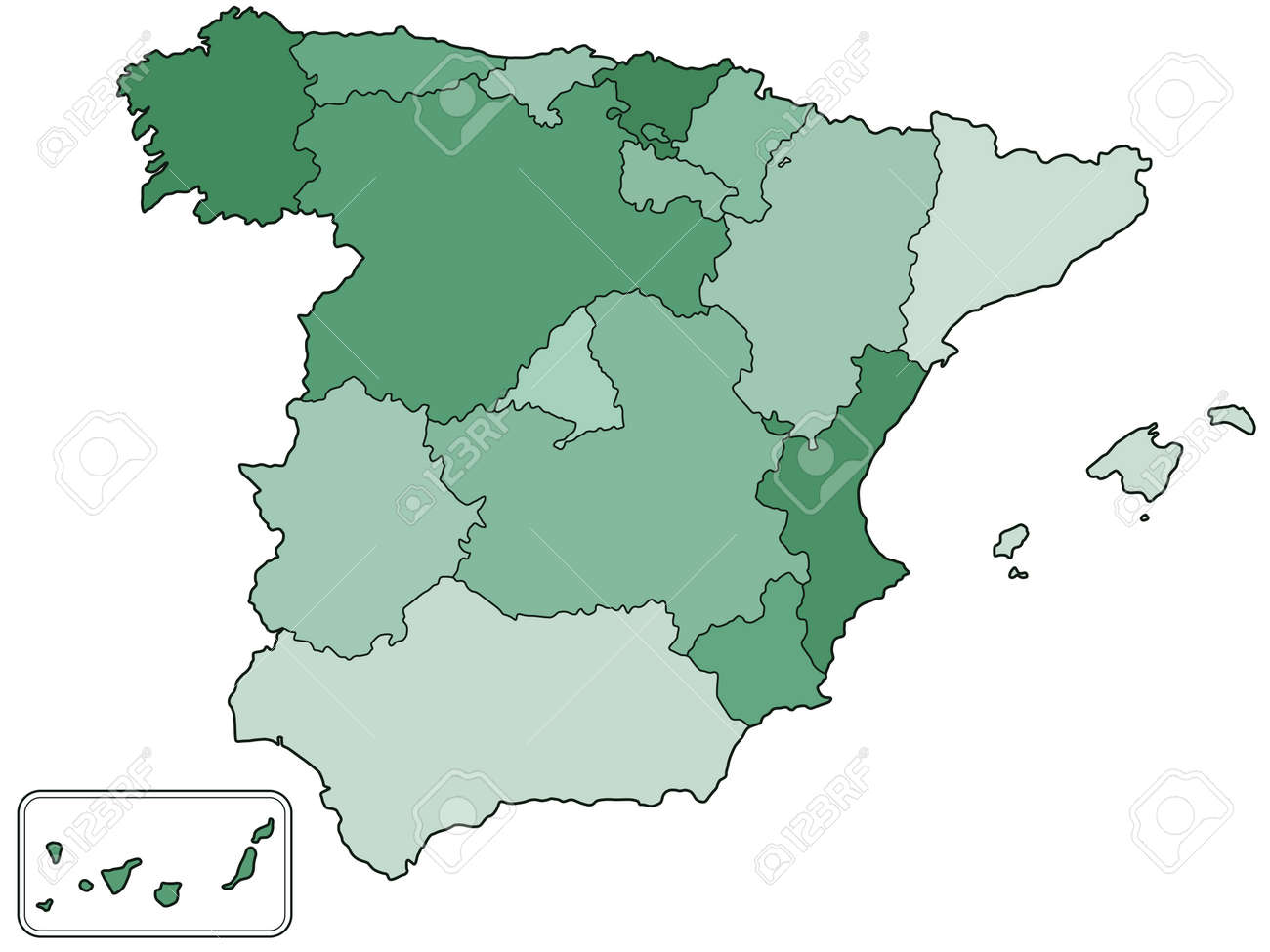 Map Of Spain Jpg.Silhouette Contour Border Map Of The Spain With Regions All