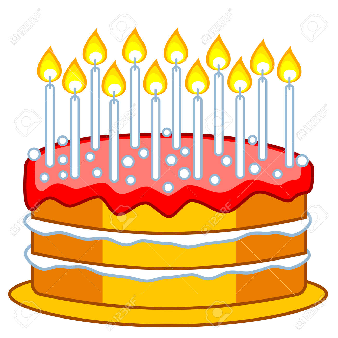 Illustration Of The Birthday Cake With Candles Stock Vector